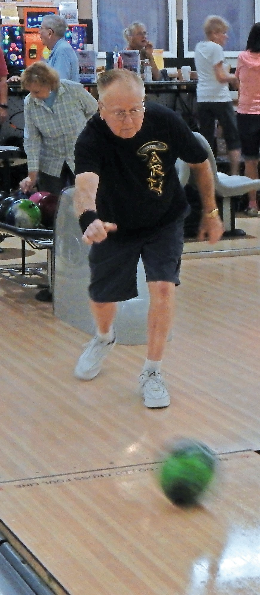 Residents learned about the health benefits of bowling before they played free games.