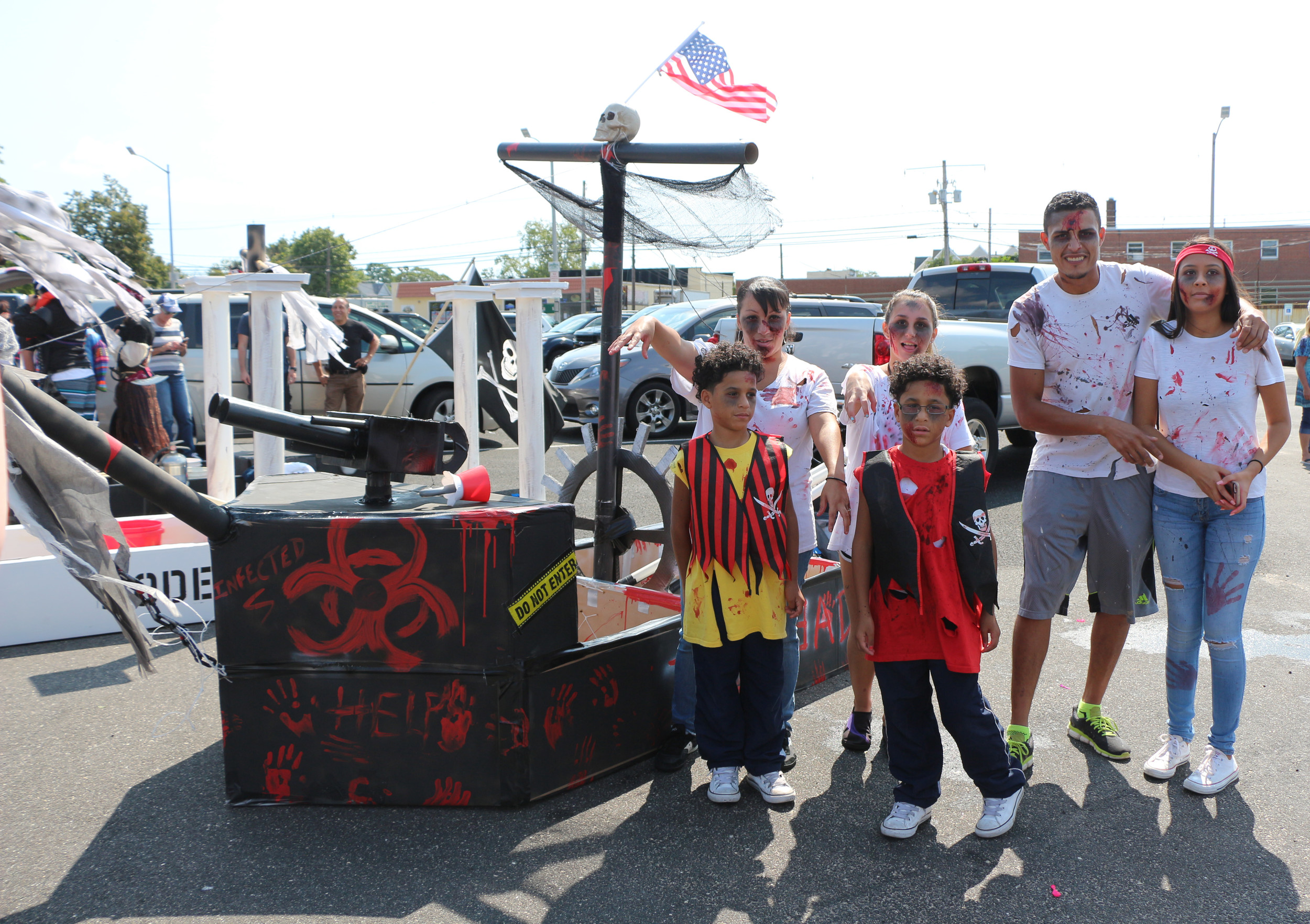 Team Ride or Die, dressed as zombies, with their homemade pirate ship. From left were Angel Magana, 7; his brother, Justin, 8; their sisters, Angelique, 14; and Michelle, 17; and their parents, Sergio and Samantha.