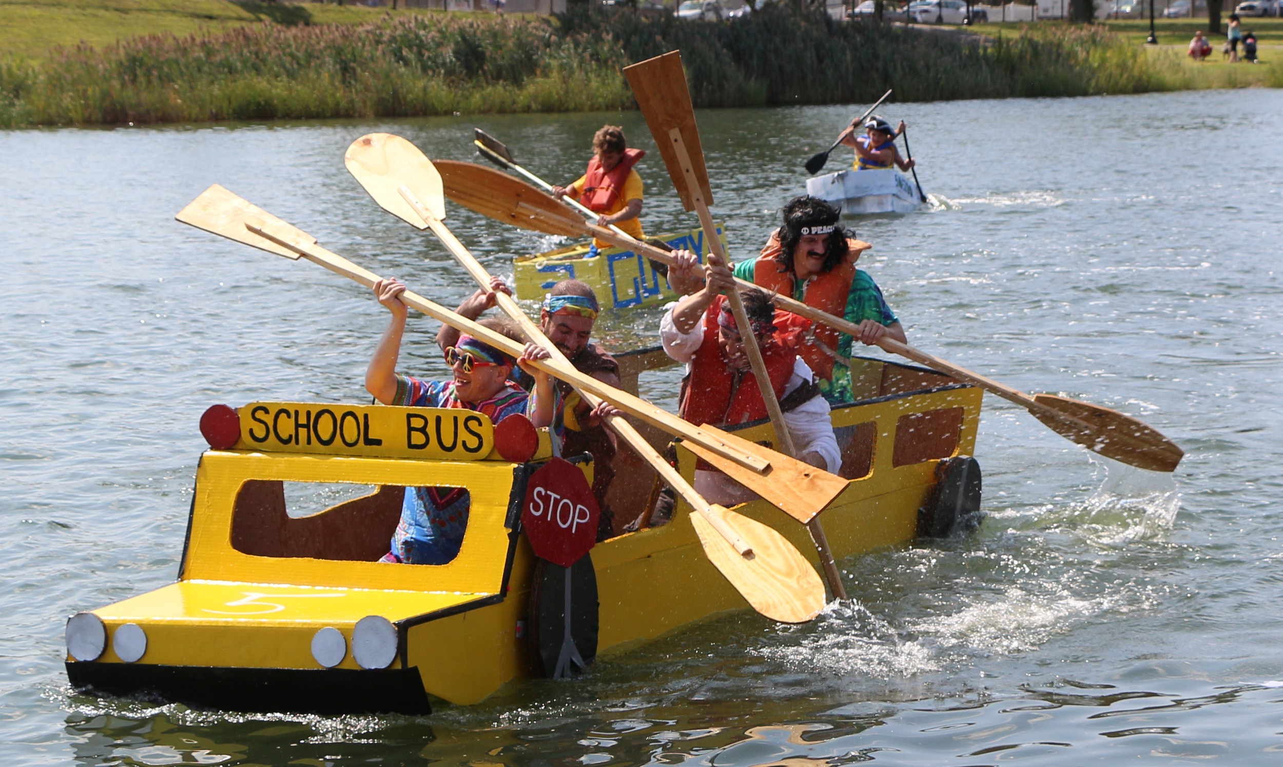 The wheels on the bus go round and round — except at the Milburn Creek Boat Ramp, where a team dressed as hippies competed.