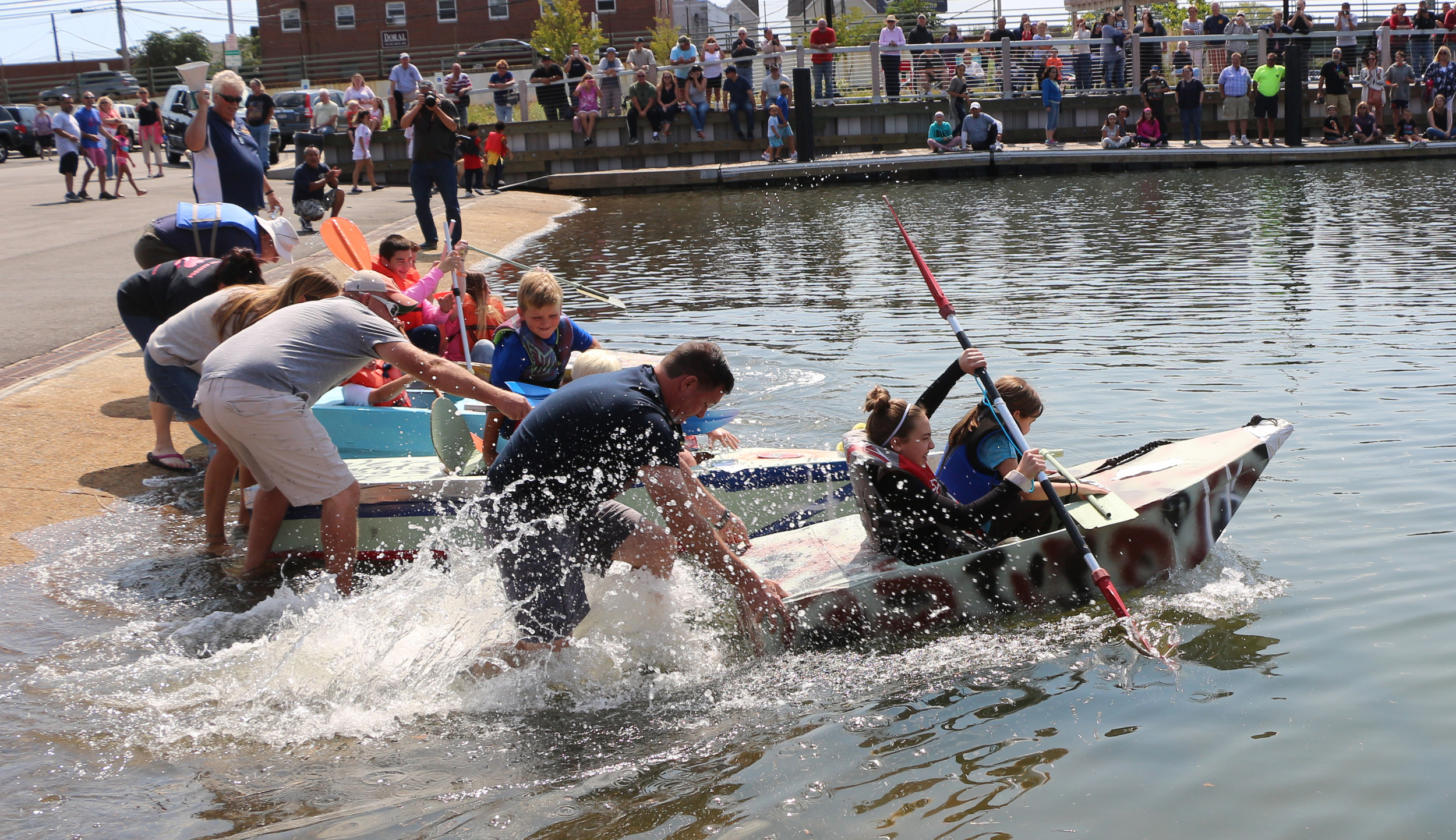 junior rowers in the Baldwin Cardboard Boat Race got off to a fast start during the childrens' event.