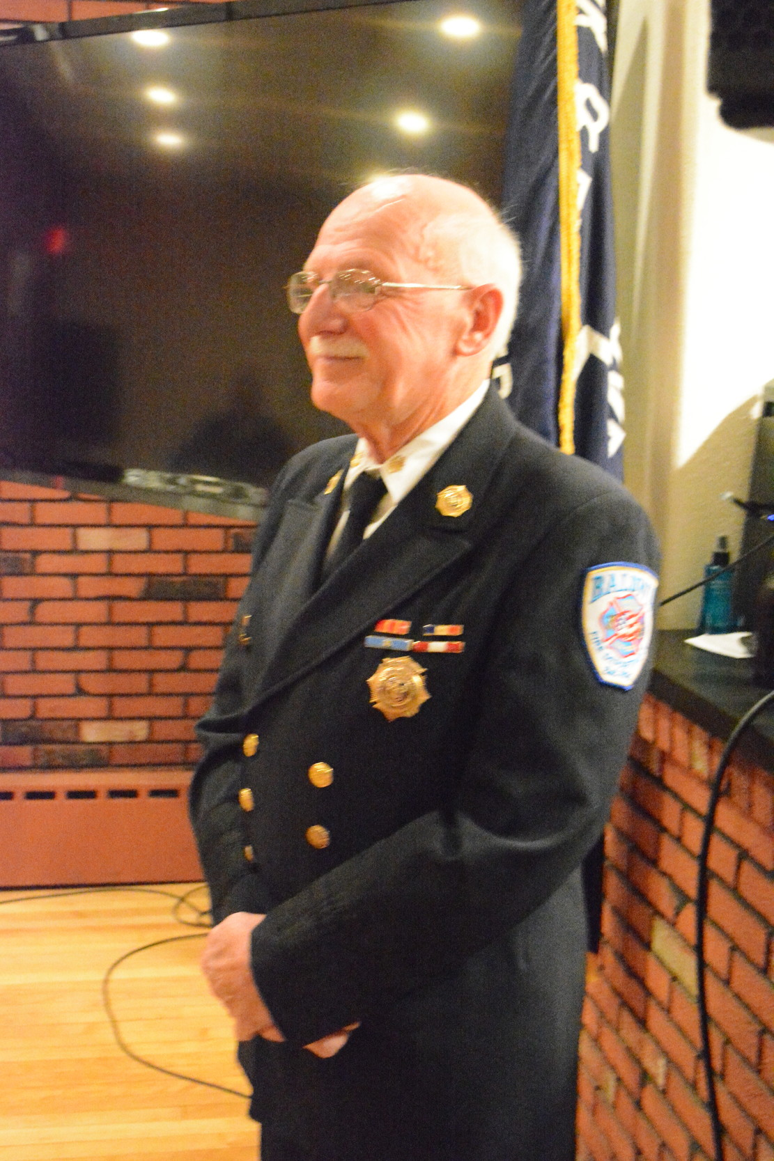 Robert Quackenbush, commissioner of the Baldwin Fire Department, was honored for his 