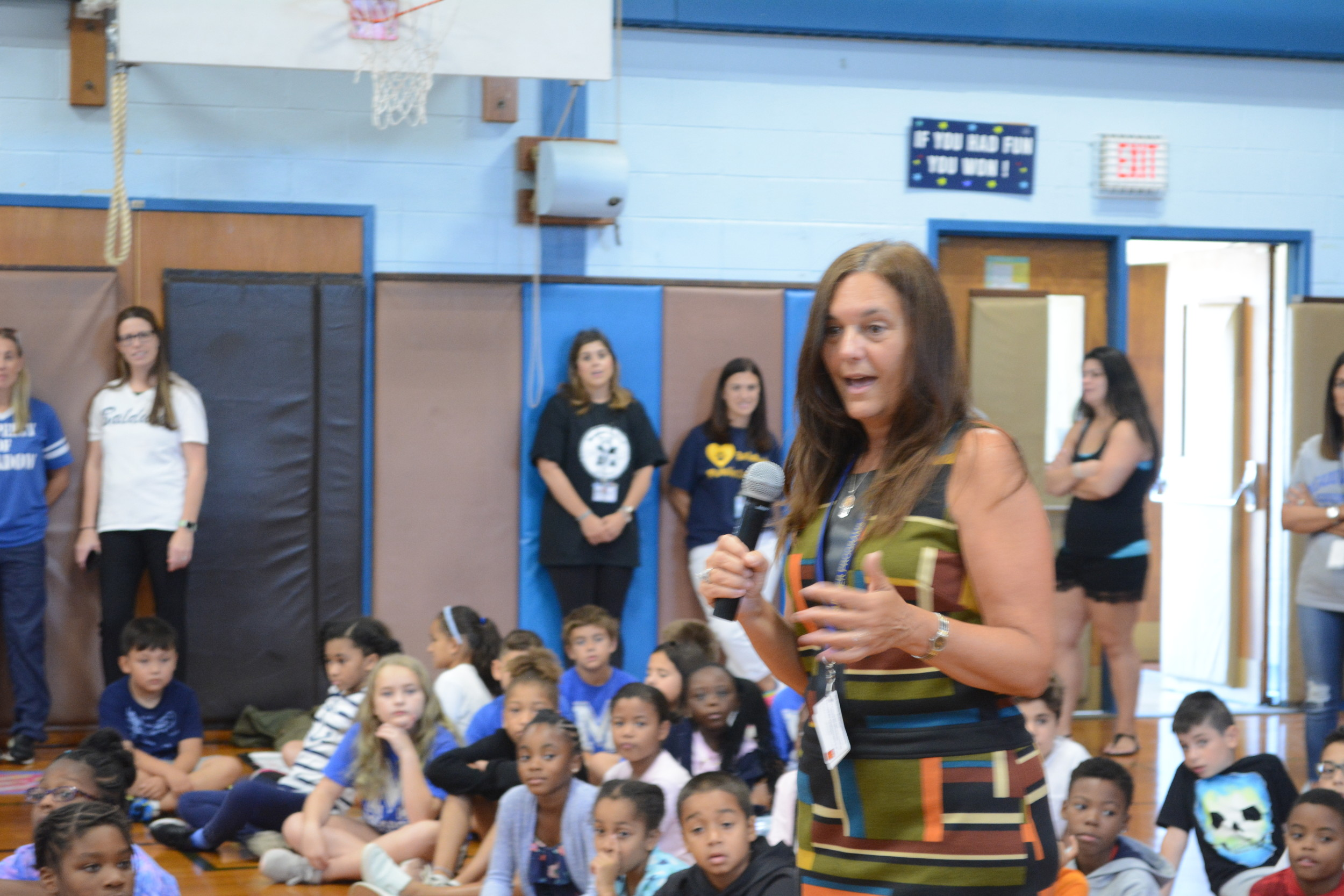 Superintendent of Baldwin Schools, Dr. Shari Camhi, addressed the assemly of students during a pep rally to get students excited about the start of the school year..