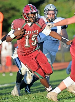 Sophomore Devon Christopher had a long passing touchdown for Glen Cove in last Saturday's 28-14 season-opening loss to visiting Hewlett.