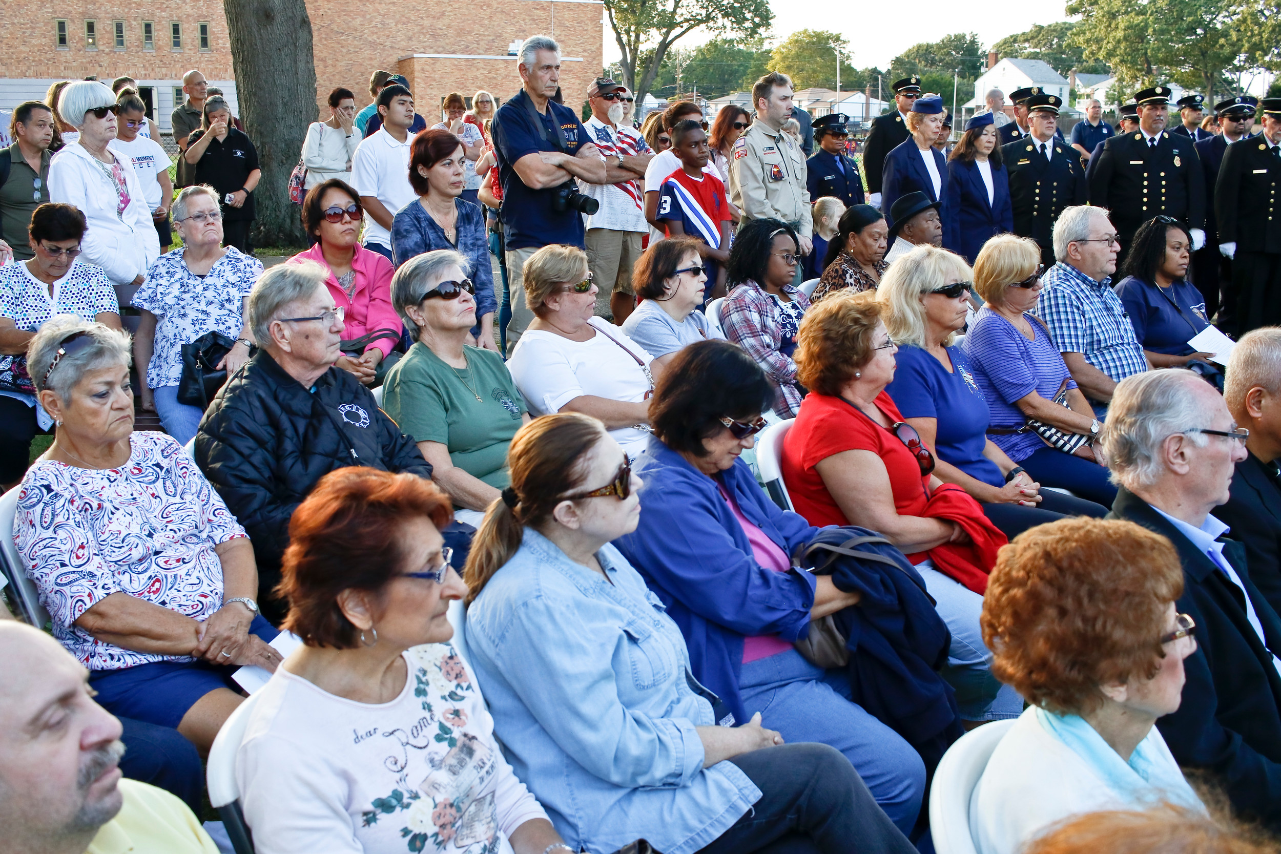 "Hundreds of residents gathered for the annual ceremony at Hendrickson Park. Six years ago, the village added a memorial site dedicated to the attacks, with a steel beam from the destroyed World Trade Center positioned on two cement columns that point toward 1 World Trade. In 2015, the village acquired two ""Survivor Tree"" saplings that grew out of the charred trunk of a Callery pear tree that was uncovered under the rubble of the twin towers."