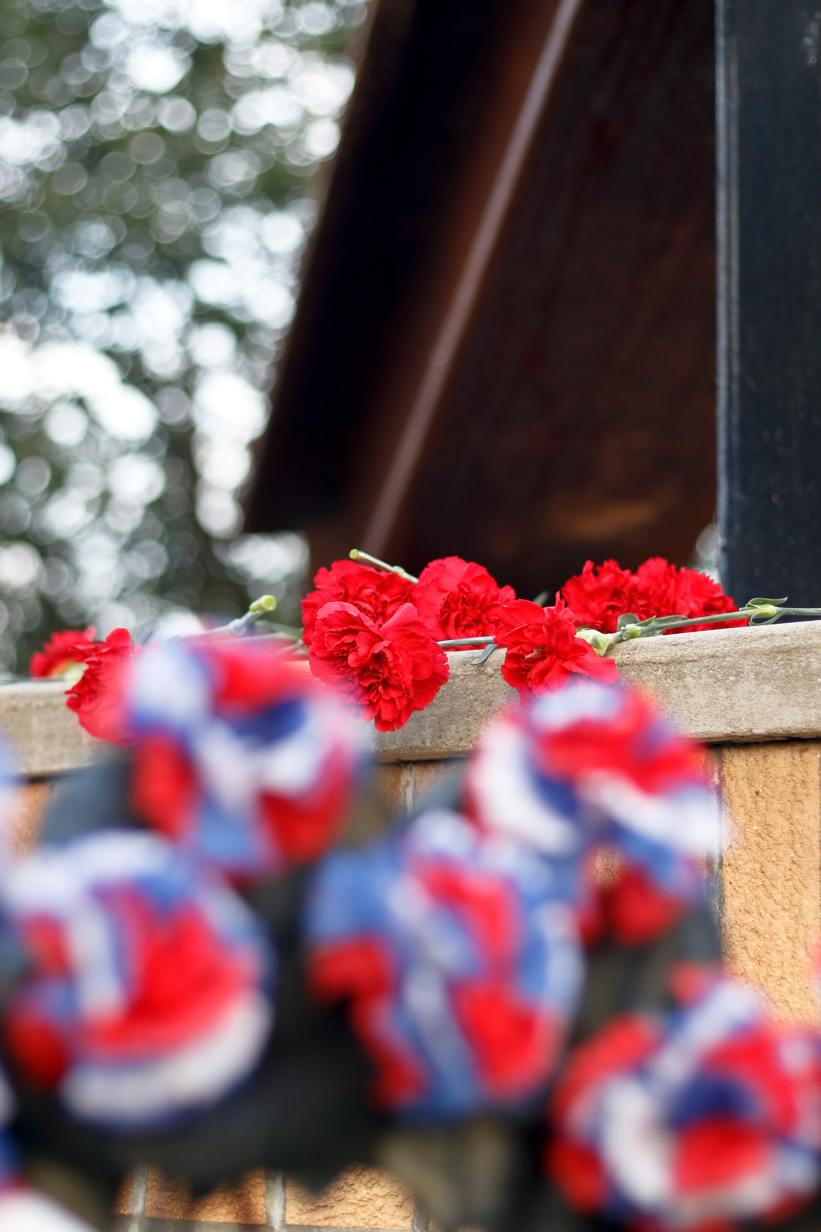 The steel beam from the World Trade Center has been in Valley Stream since 2011. Each year wreaths and flowers are placed on and around the beam during the ceremony at Hendrickson Park.