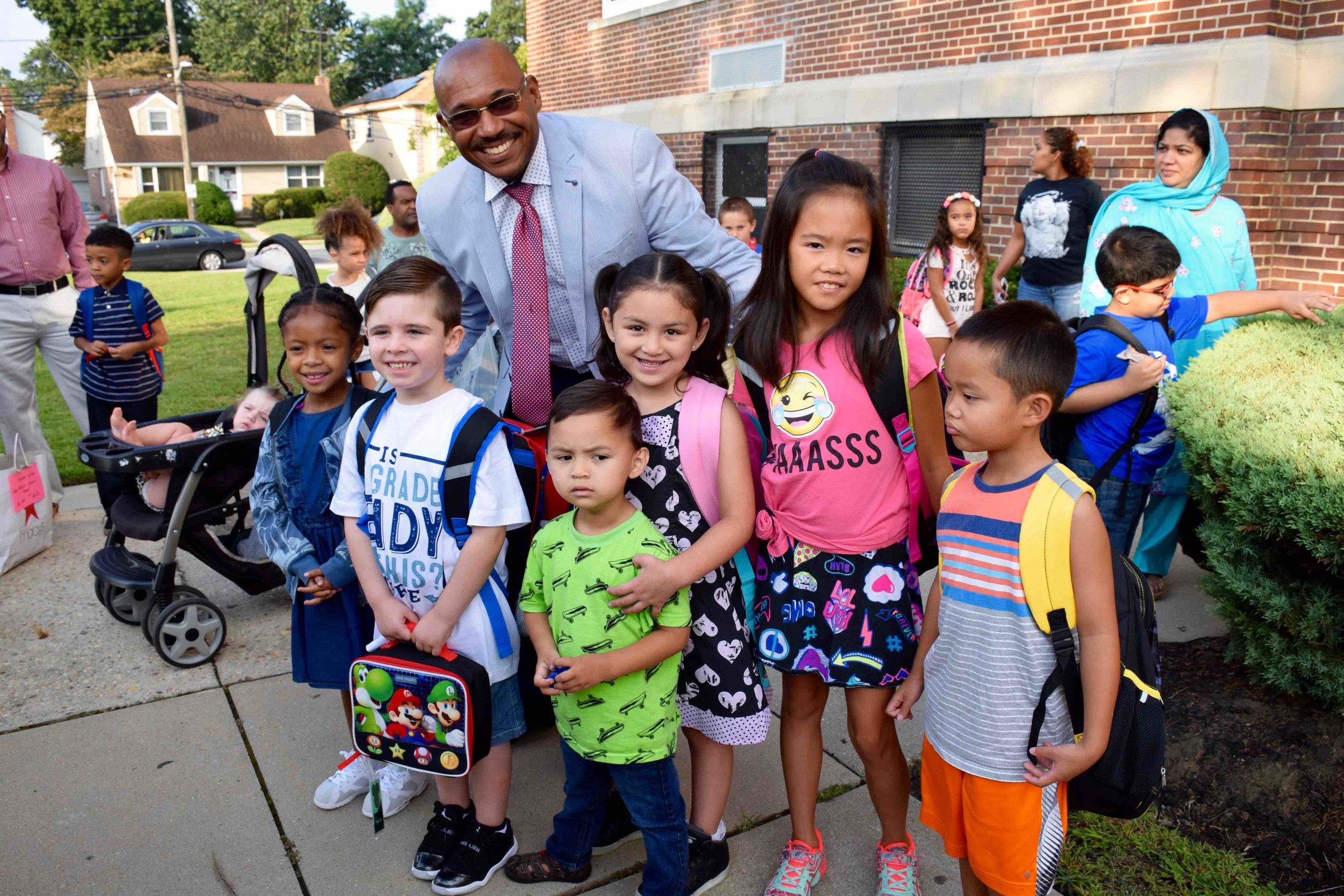 Superintendent Nicholas Stirling greeted Clear Stream Avenue students on the first day of school.