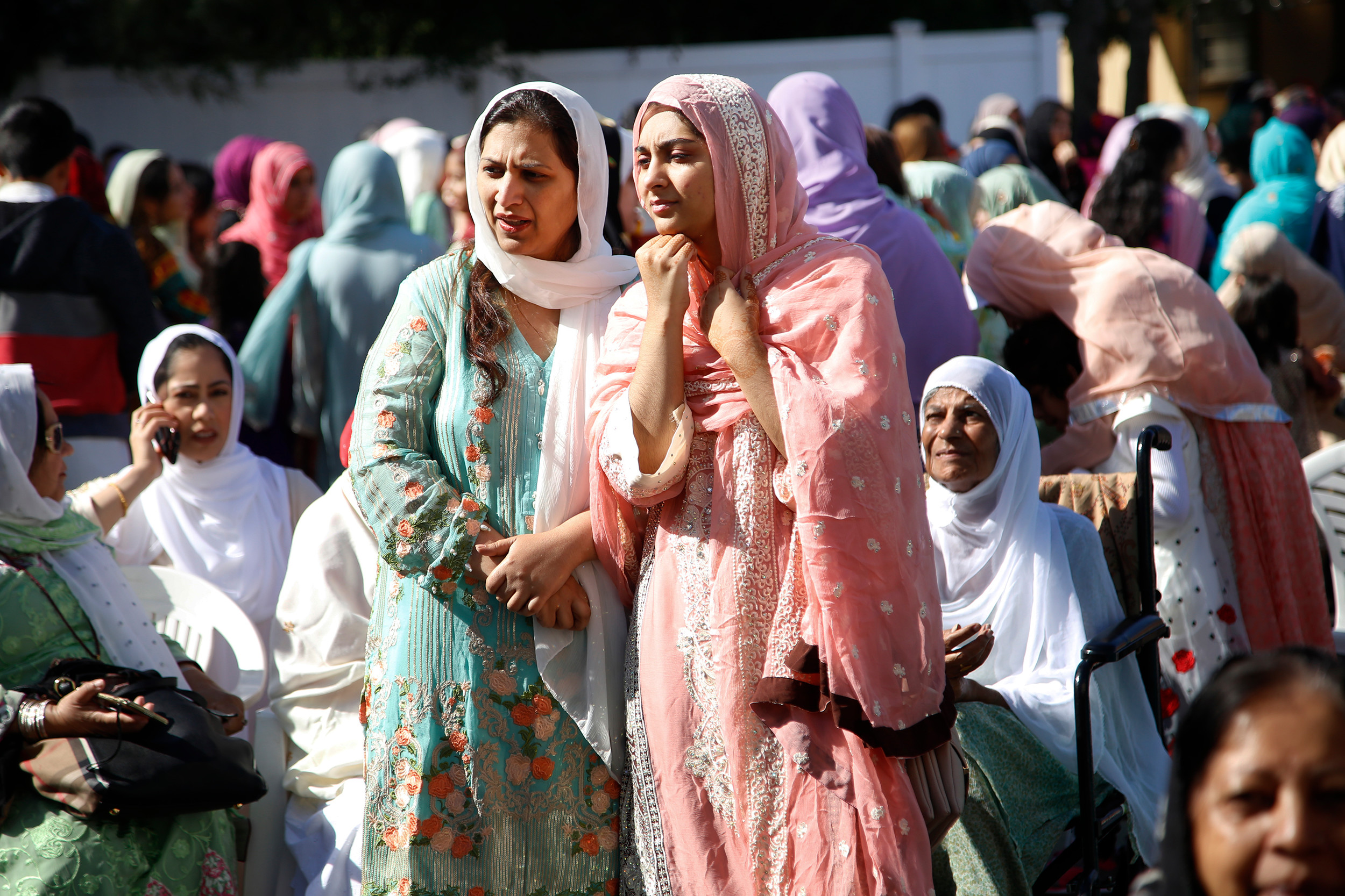 Nazia and Naina Shahid went to the mosque for Eid services.