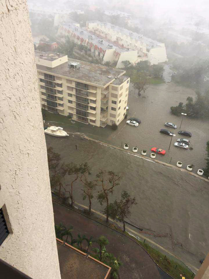 Hurricane Irma reached Florida on Sunday and flooded many areas, including the Miami Shores condominium complex where Evan Sobel, a friend of former East Rockaway resident Tina Ohman, lives.