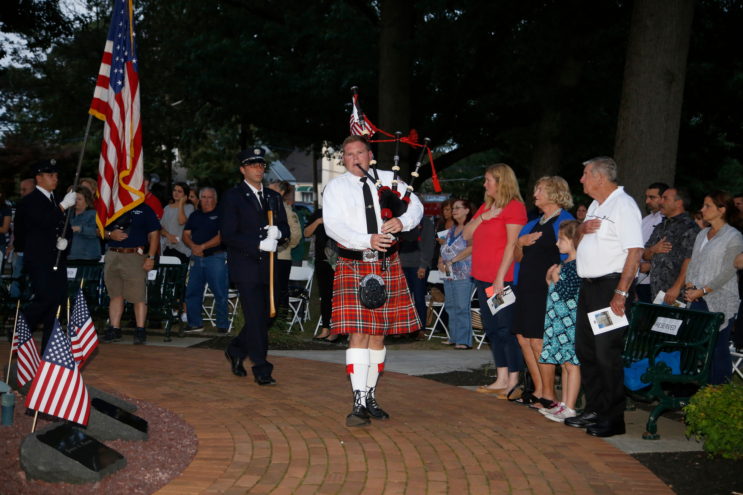 Ken Gilloon Jr. played the bagpipes at East Rockaway's ceremony commemorating the 16th anniversary of the terrorist attacks of Sept. 11, 2001.