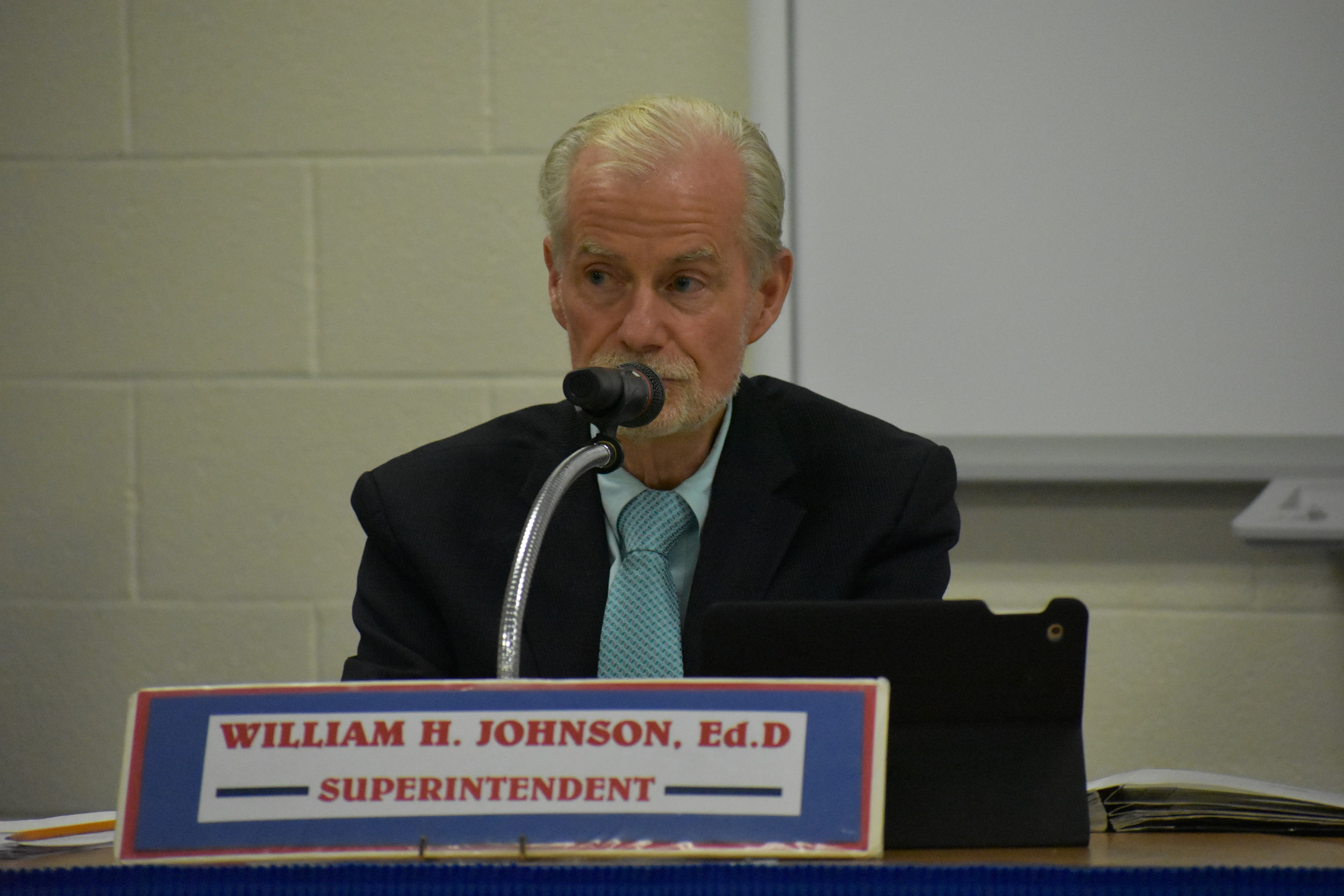 Rockville Centre Schools Superintendent Dr. William Johnson thanked the Board of Education for agreeing to extend his contract through 2020 at a meeting on Sept. 6.