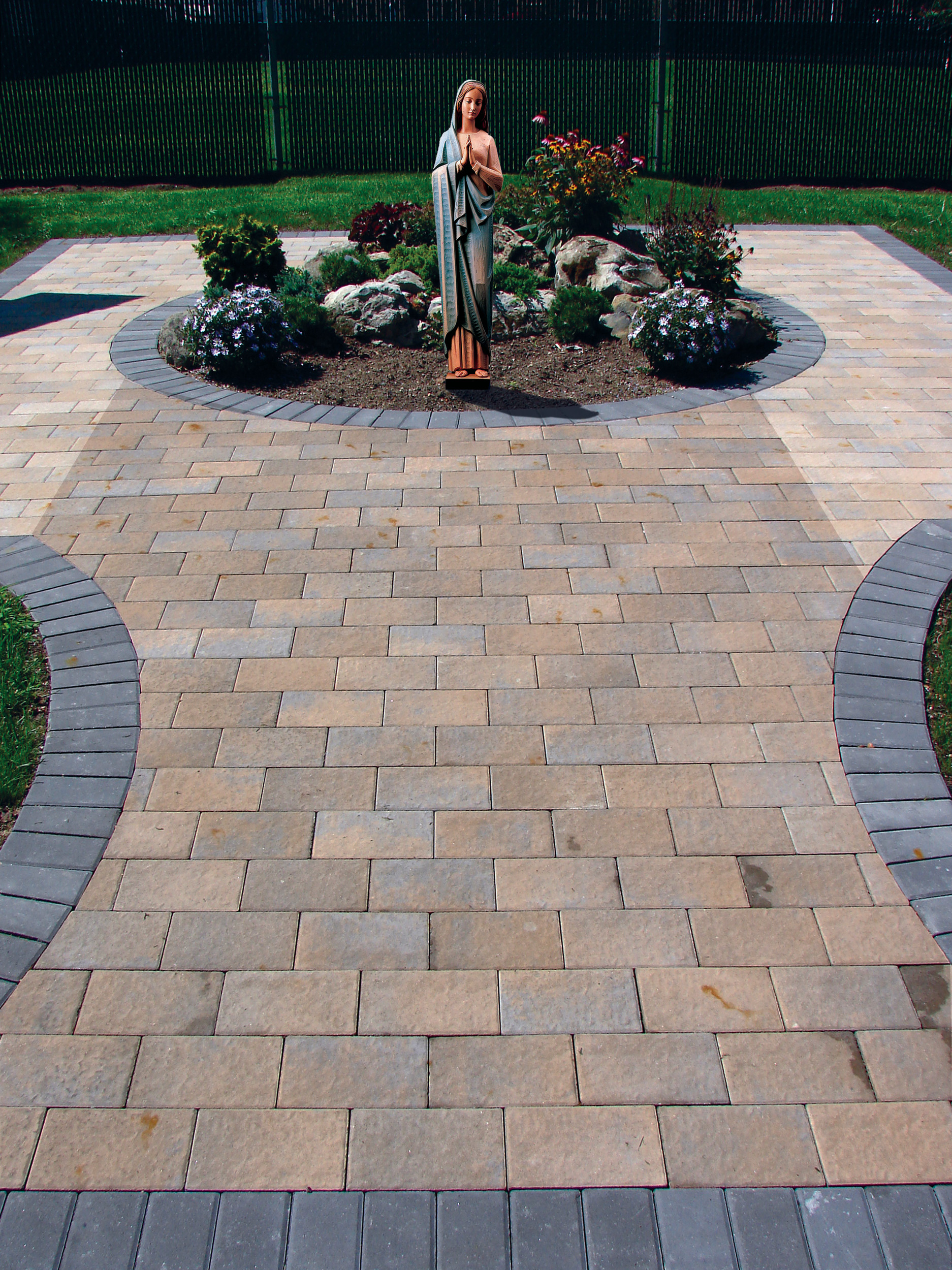 A centennial prayer walkway is being built, and people can purchase bricks and have them inscribed. Above is a rendering of the statue that will adorn its garden.