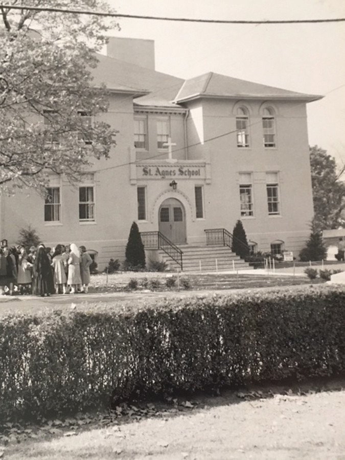 St. Agnes, pictured decades ago, originally sat on Quealy Place, but switched locations after the school purchased and moved into the Clinton Avenue School in 1957.