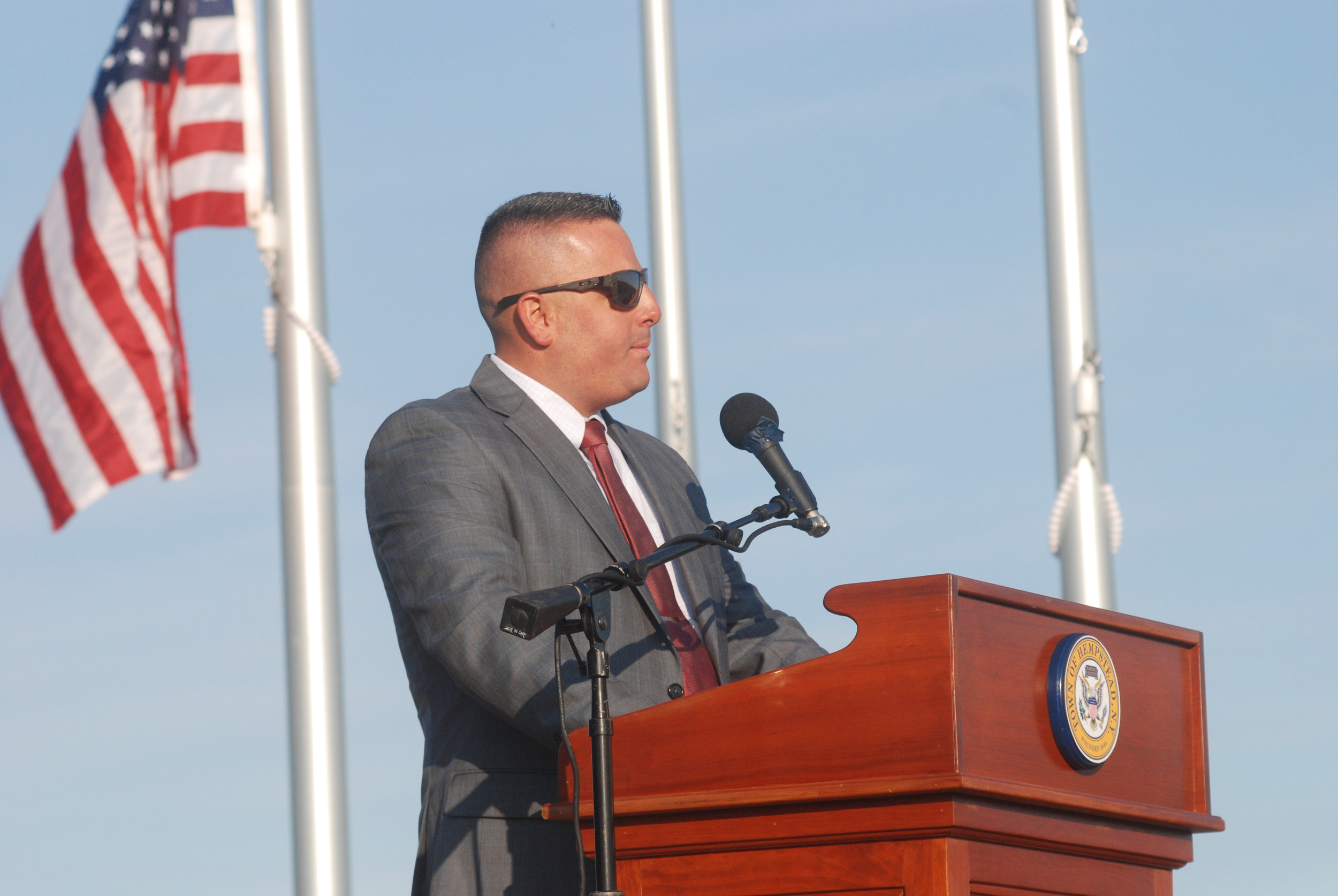 Bobby Gies, son of the late Ronnie Gies, a lieutenant from Merrick who was part of the elite Rescue Squad 288 in Queens, implored attendees of the Point Lookout Park ceremony to tell their children about the terrorist attacks.