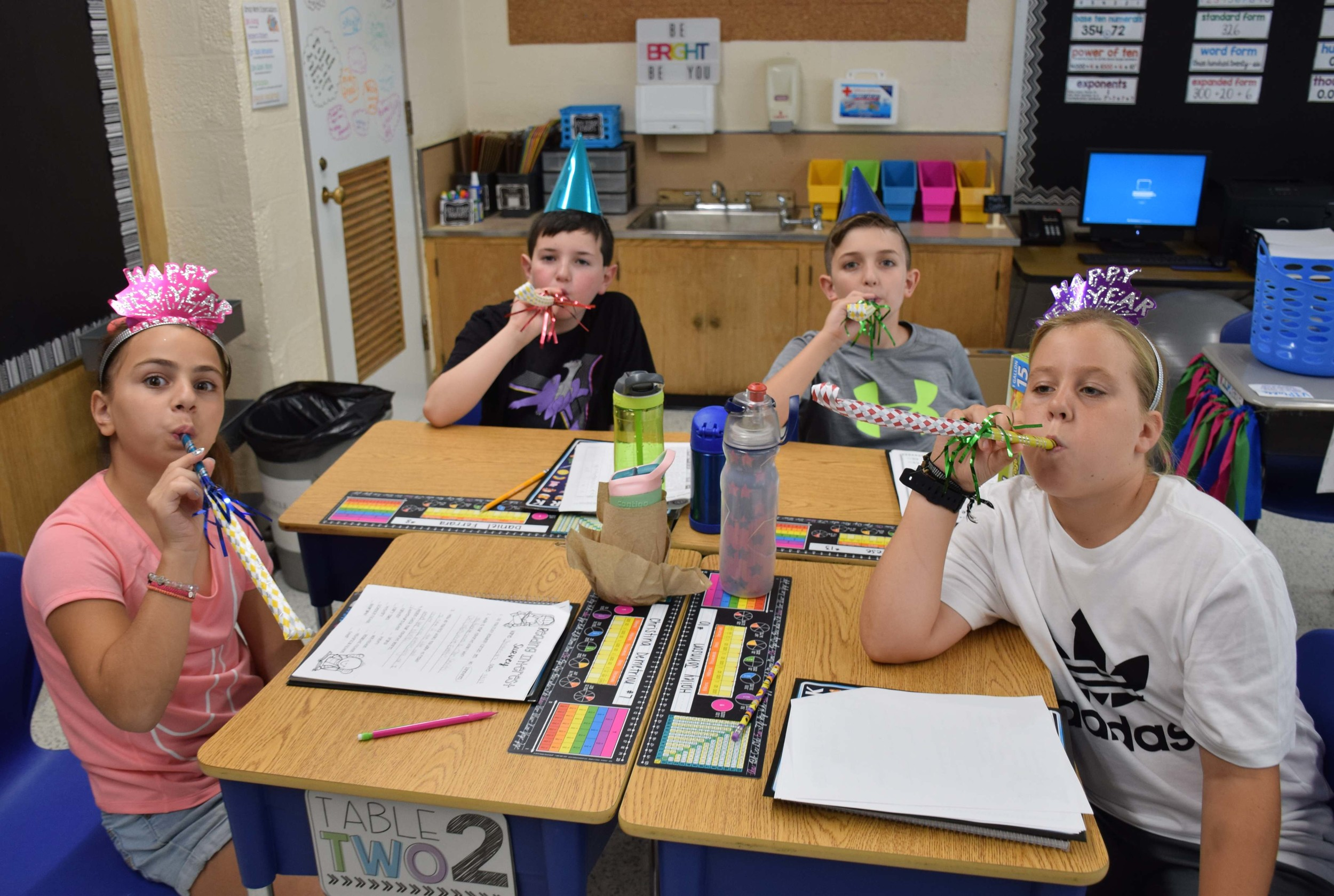 Fifth-graders at Saw Mill Road rang in the new school year.