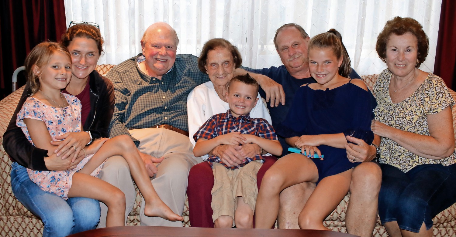 Donna Younghans and her daughter, Allie; Joe Fennessy; Mary Fennessy and her great-grandchild, Jack Younghans; Tom Fennessy; Lucy Younghans; and Elaine Fennessy.