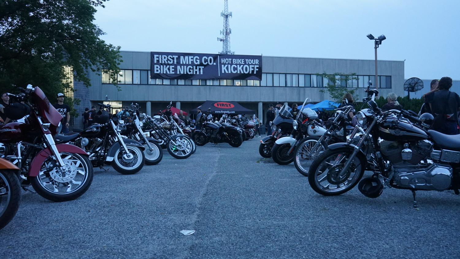 The motorcycles, many custom-made, lined First Manufacturing's parking lot for the kick off.