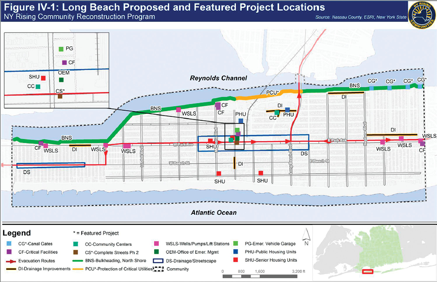 Long Beach's Community Reconstruction Program's planning committee submitted 17 projects to the state that tackled various aspects of storm mitigation throughout the city. This map shows where infrastructure improvements would be made.