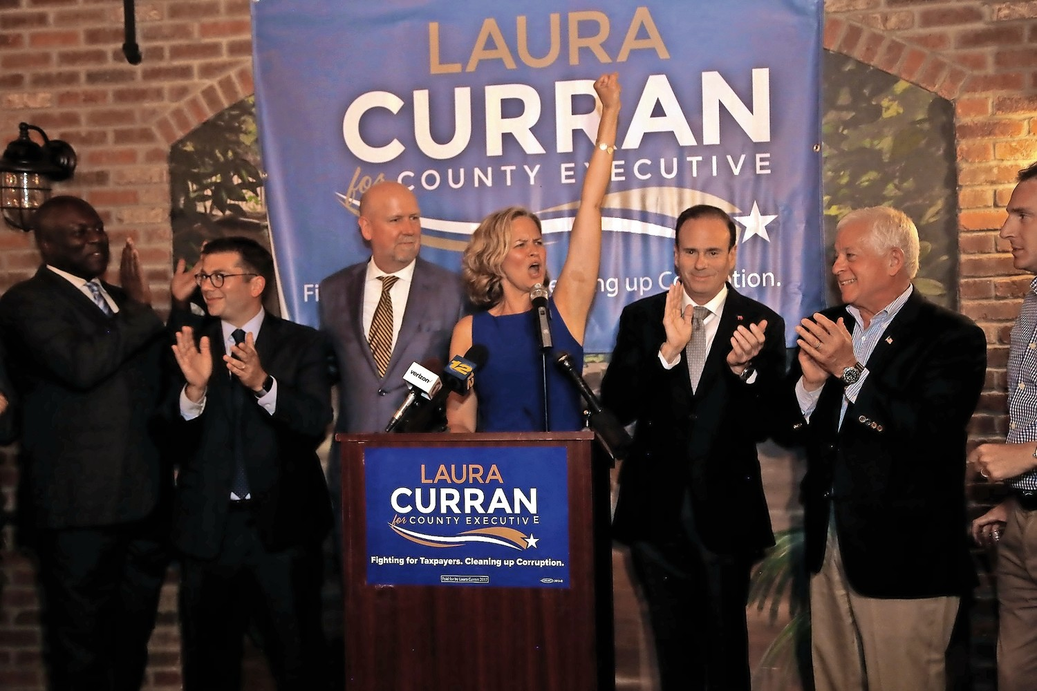 Laura Curran celebrated her win in the Democratic primary for county executive at Nawlins Seafood Company in Freeport.