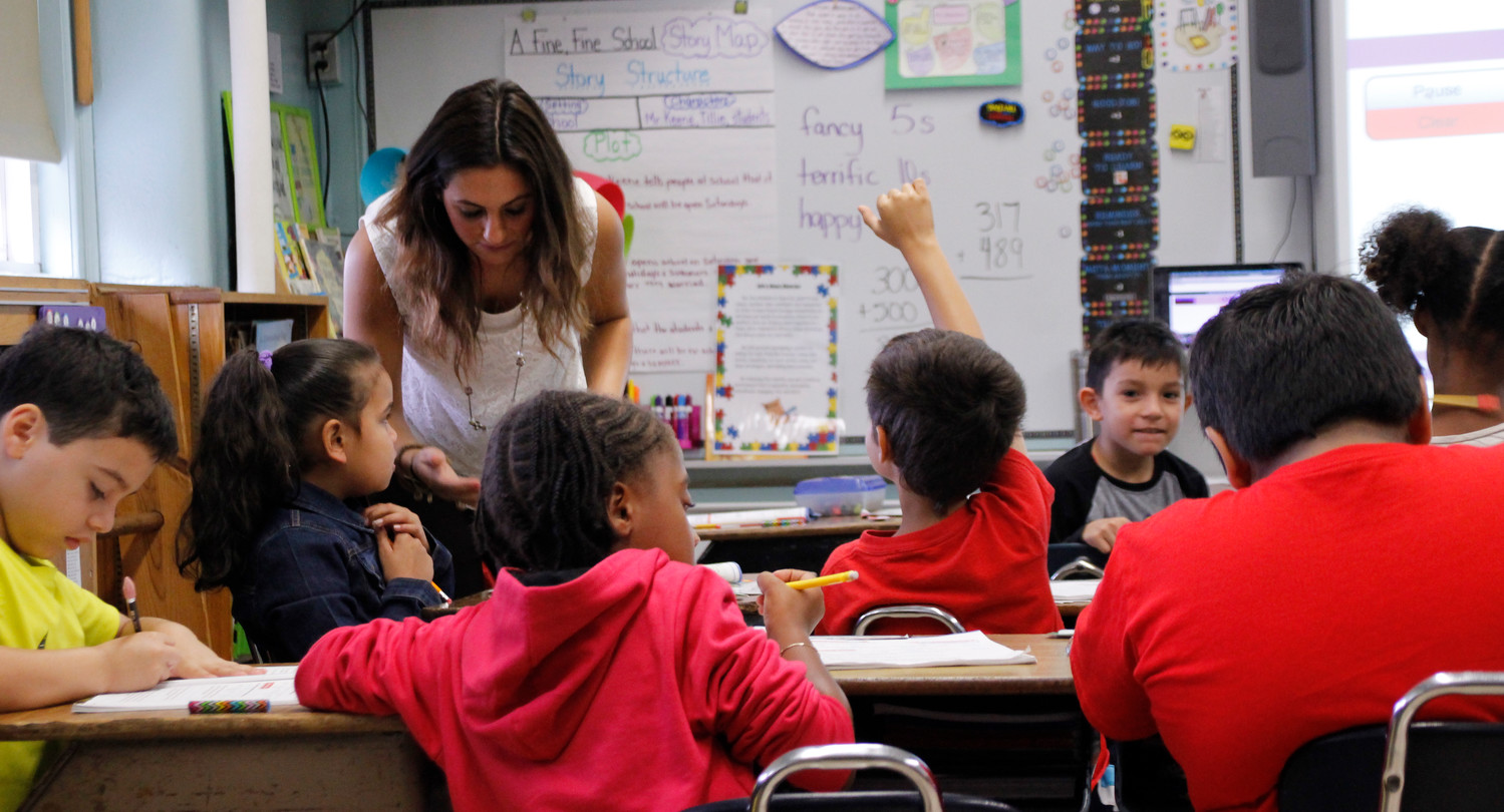 Jessica Anastasio worked with her first-grade class at the Brooklyn Avenue Elementary School in District 24 during the third week of school.