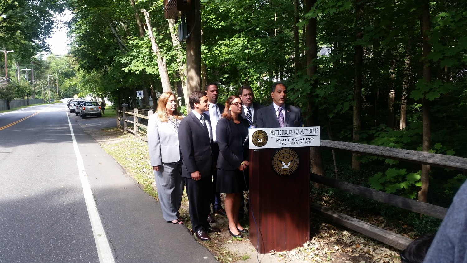 "Town Supervisor Joseph Saladino held a press conference on Wolver Hollow Road in Glen Head on Tuesday to share his plans to protect residential communities from ""intrusive"" telecommunications equipment."
