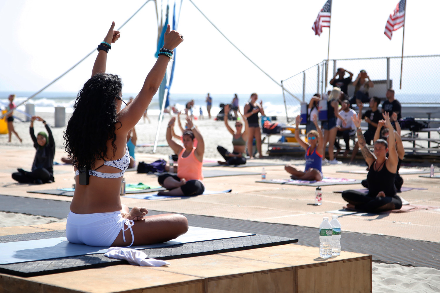 Buti Yoga instructor Gladys Duarte conducted a class on the beach at NY Fit Fest.