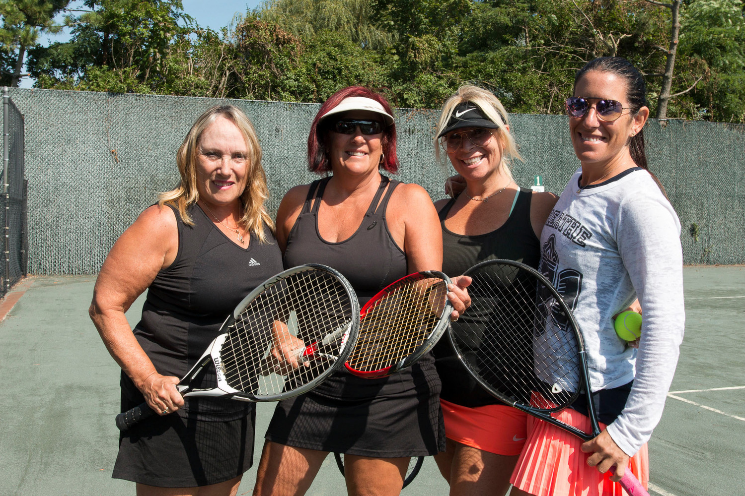 The summer tennis season came to an end at the Lawrence Yacht & Country Club with three doubles tournaments. From left were Audrey Ciuffo, Anna Wilson, Shanon Blue and Mariam Lieber who played in the A championship.