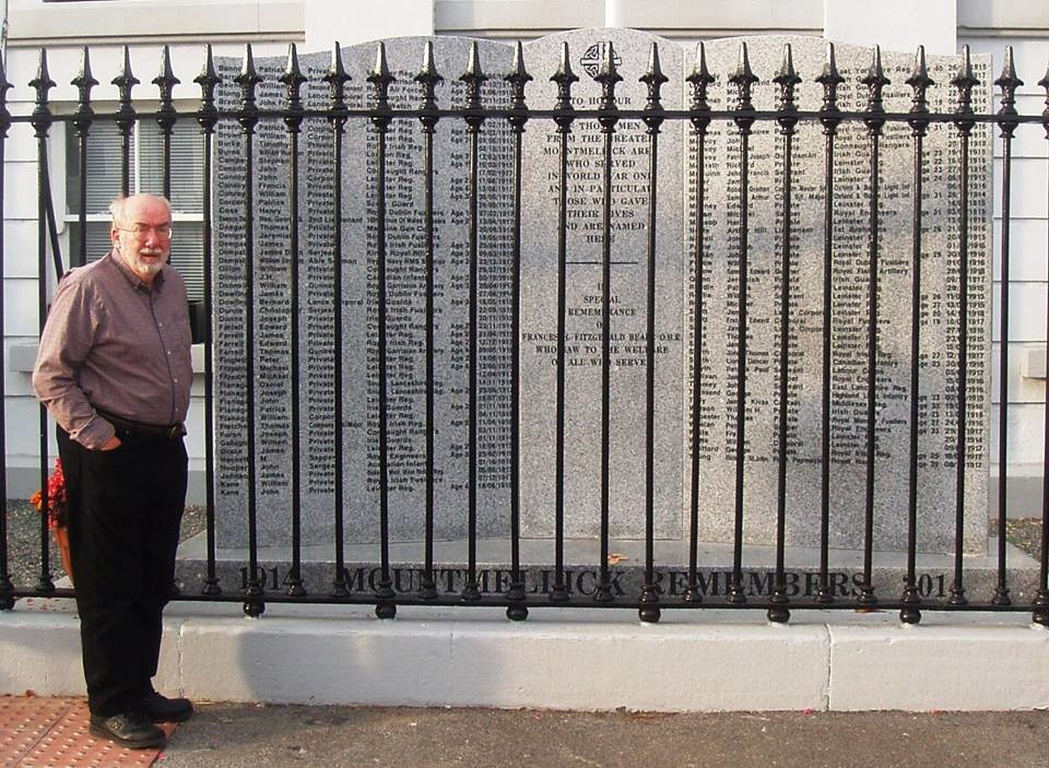 "After reading excerpts of his book, ""The Canal Bridge"" in Ireland, author Tom Phelan visited the World War I dedication in Mountmellick, Ireland."