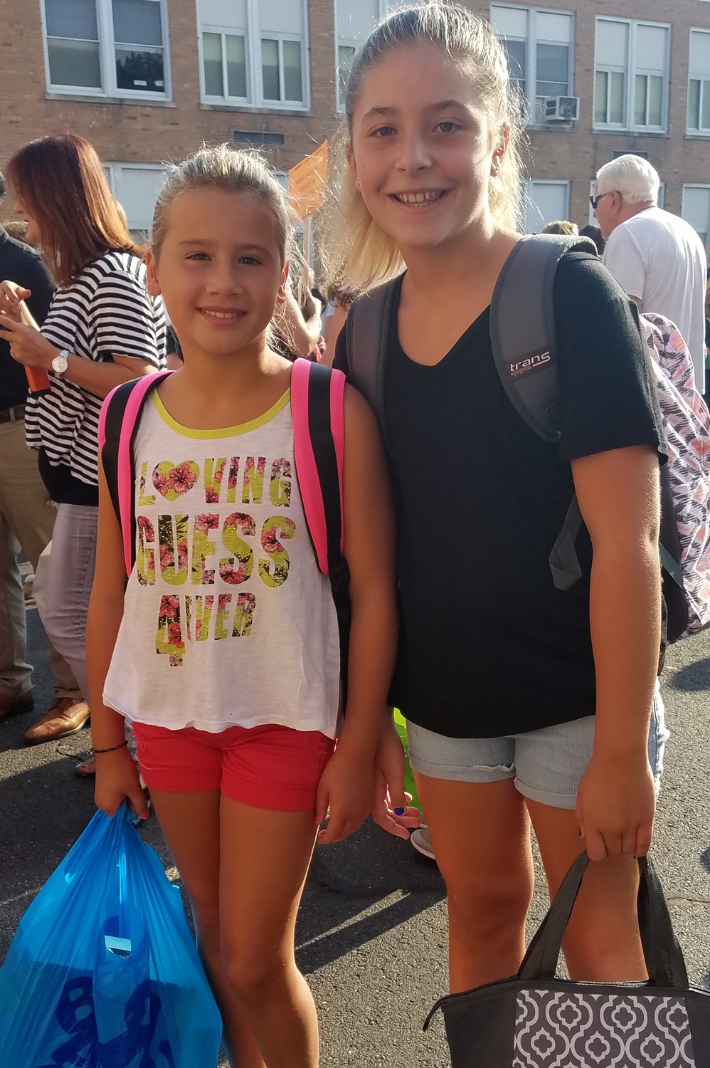 Santina D'Amato and Daniella Boccia, both 10, were ready to start their first day of fifth grade together.
