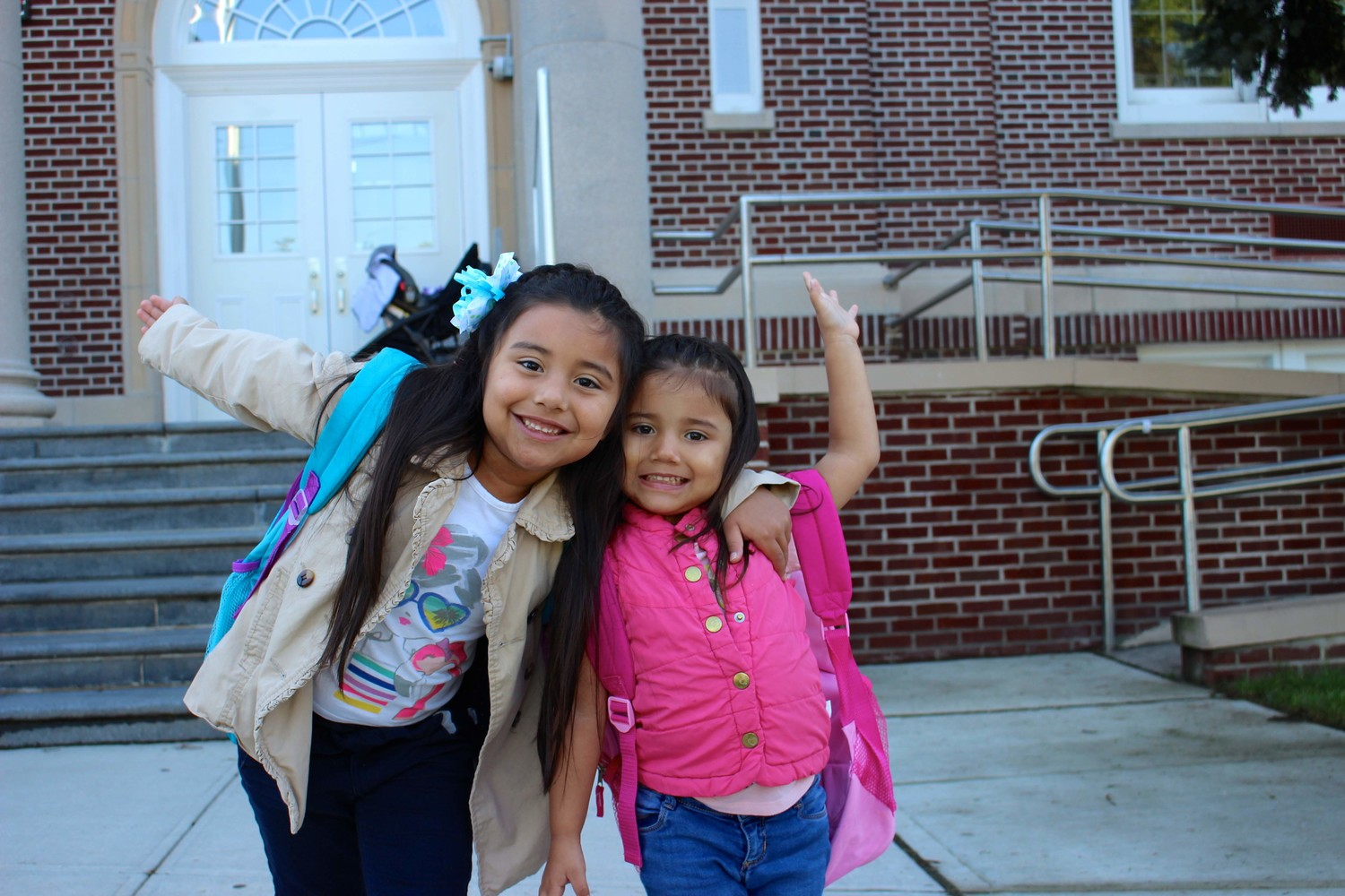Emily Buitrago (left) and her sister Loren Sophia Buitrago expressed their excitement for their upcoming school year.