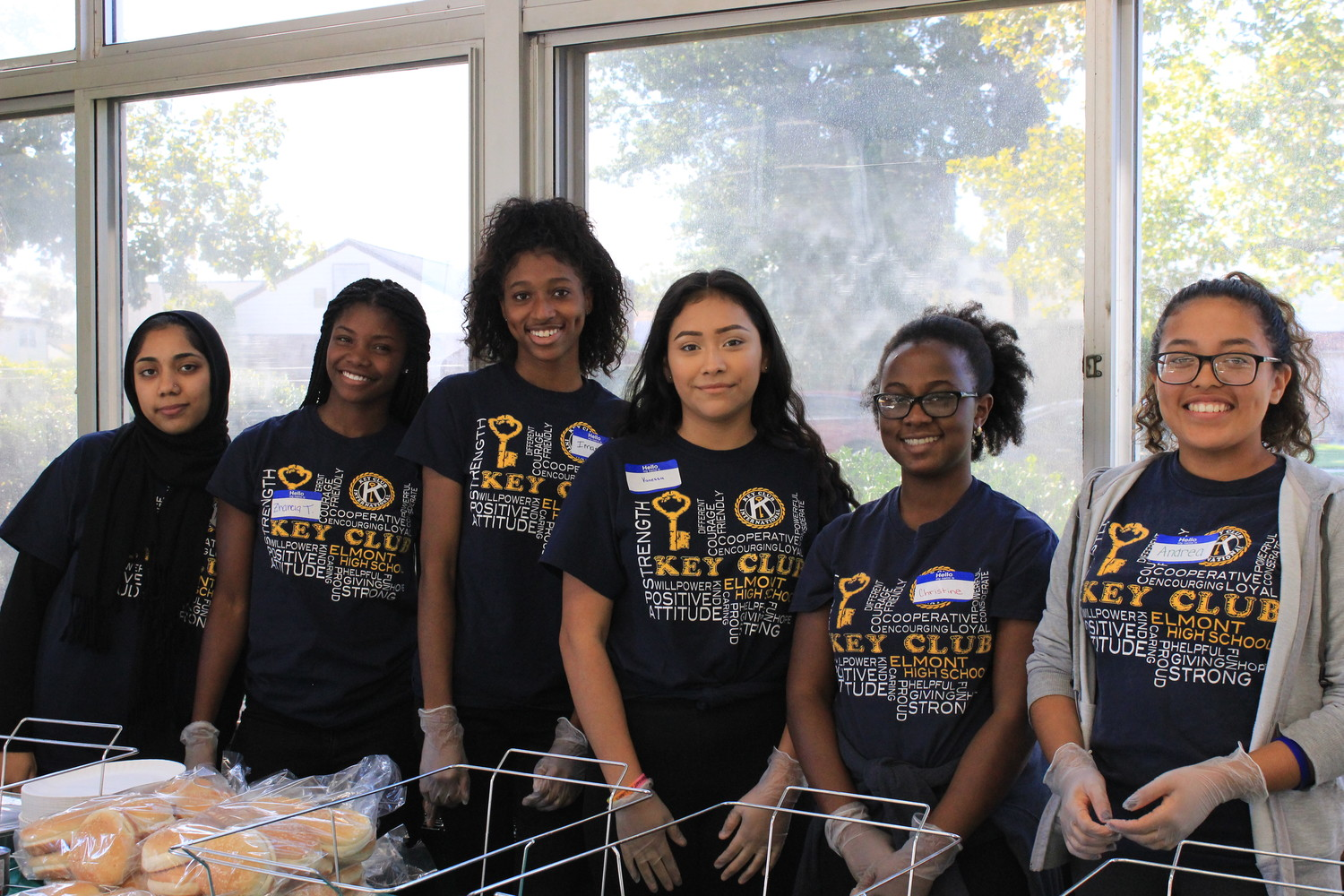 Members of Elmont Memorial High School's Key Club got ready to serve food at the second annual Elmont Family Fun Day held at the school on Sept. 9.
