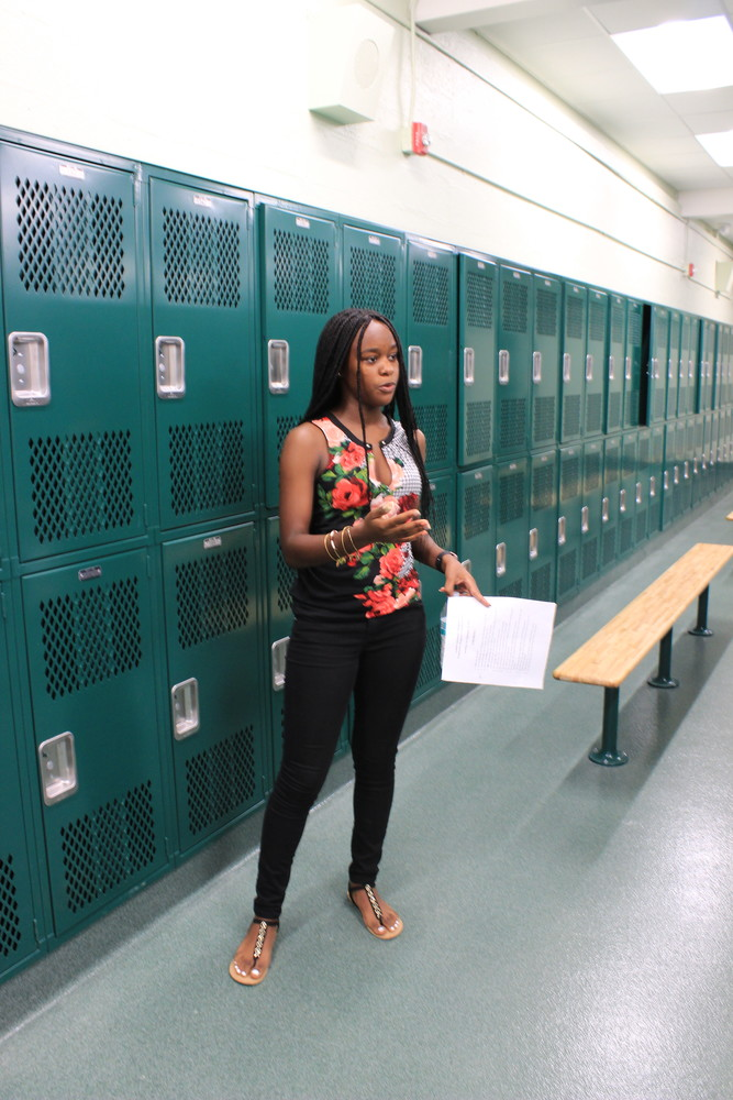 EMHS senior Khalia Whyte gave a tour of the changes made in the high school building. Here, she showed how the girls' locker room was updated.