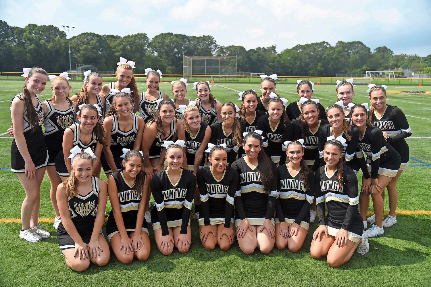 The junior varsity and varsity cheerleaders showed community spirit at Wantagh High School Homecoming celebration on Sept. 16.