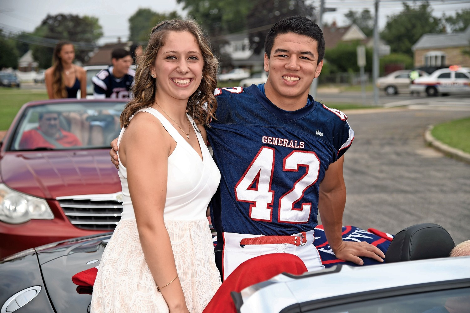 Members of the Homecoming Court sat in their own cars during the parade.