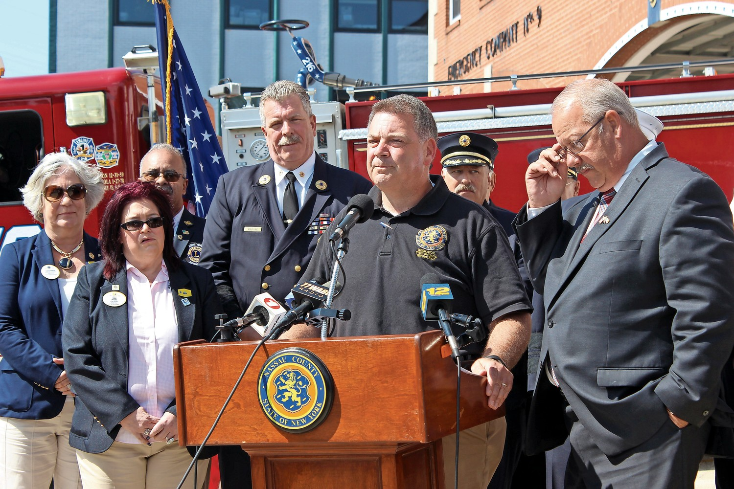 At a news conference at the Freeport Fire Department Headquarters on Aug. 30, Nassau County Legislator Steve Rhoads kicked off a supply drive to aid the victims of Hurricane Harvey.