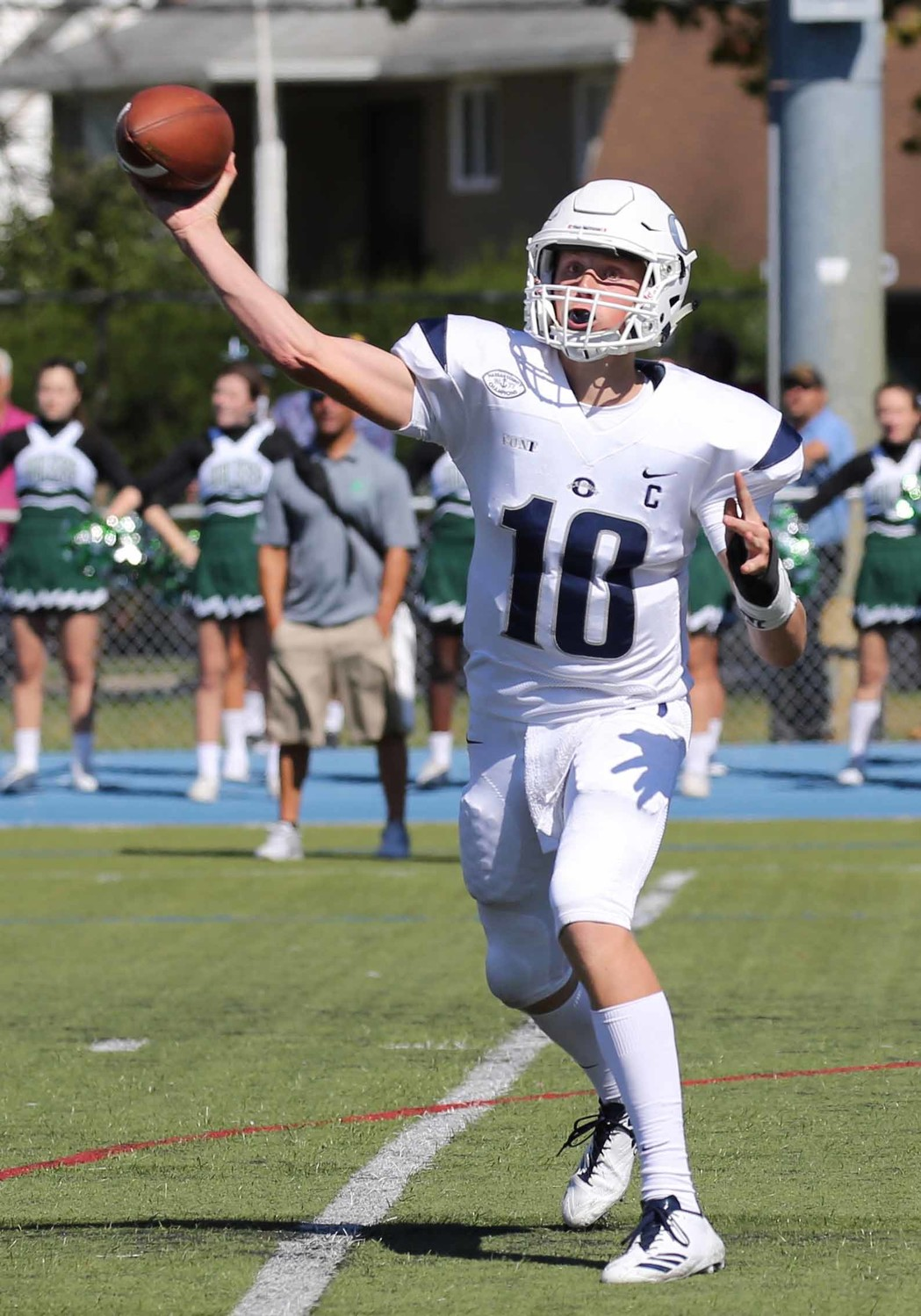 Senior quarterback Tommy Heuer threw for 365 yards and five touchdowns last Saturday as Oceanside defeated Farmingdale, 34-24, to extend its winning streak to start the season to three games.