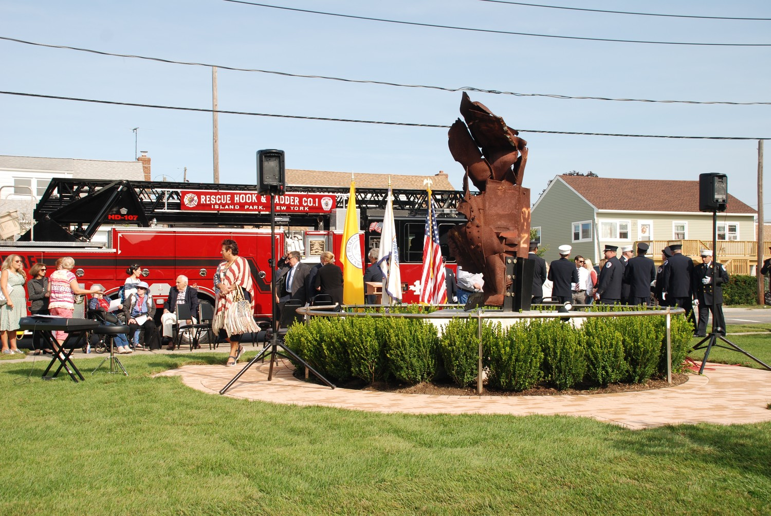 The Village of Island Park officially unveiled its memorial at the corner of Long Beach and Parma roads this Sept. 11.