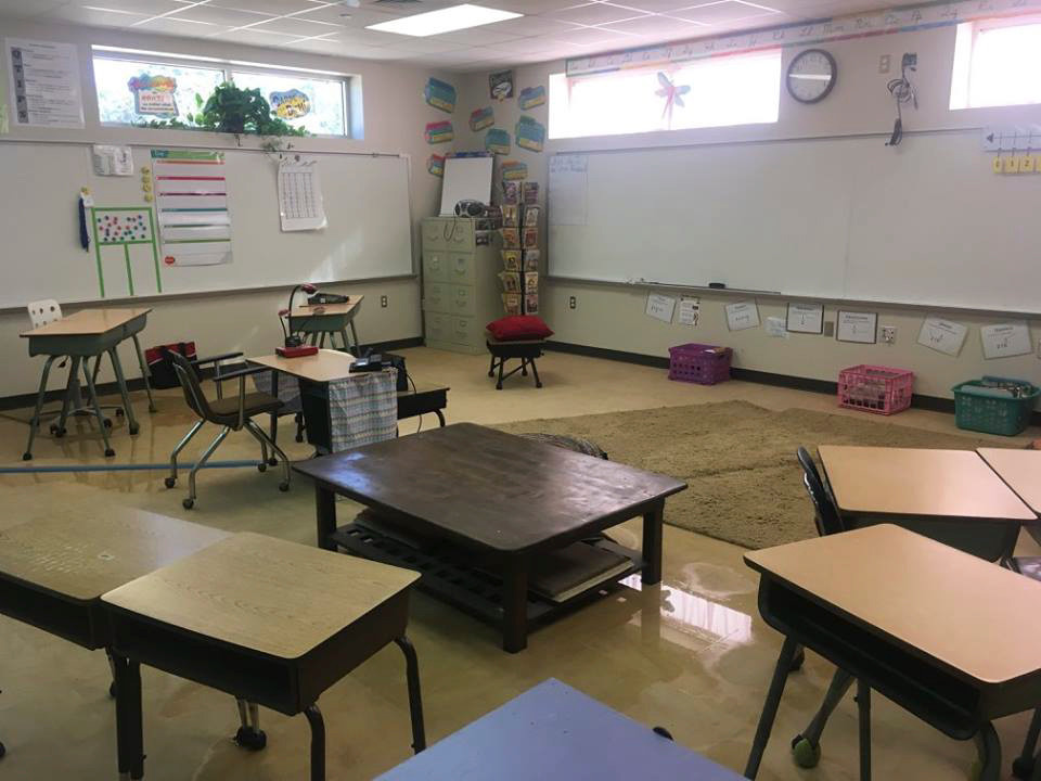 A classroom in the Little Cypress-Mauriceville Consolidated Independent School District in Orange, Texas, was left severely damaged after flooding from Hurricane Harvey.