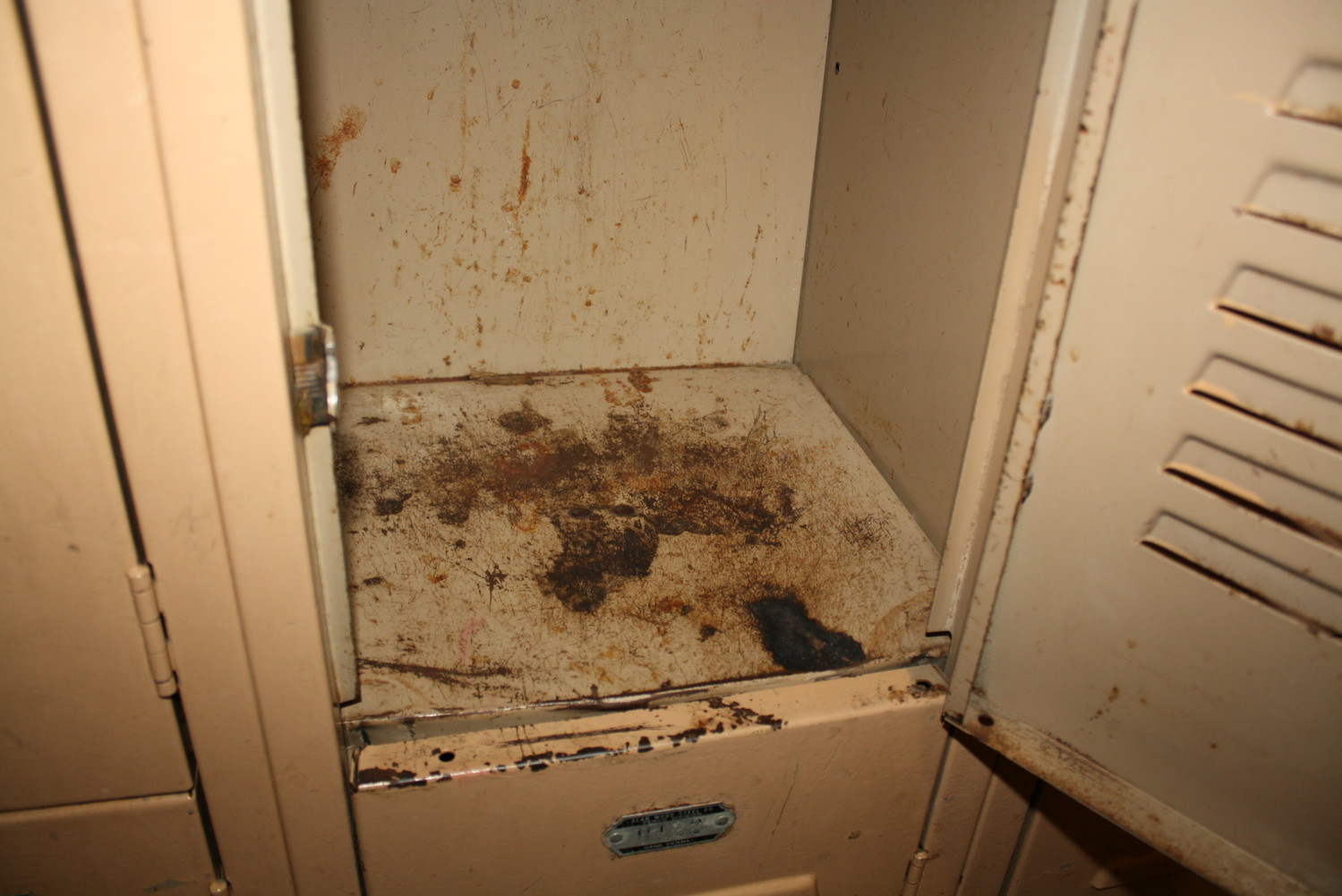 Lockers in many of the buildings, including this one at Lynbrook North Middle School, are outdated and rusty.