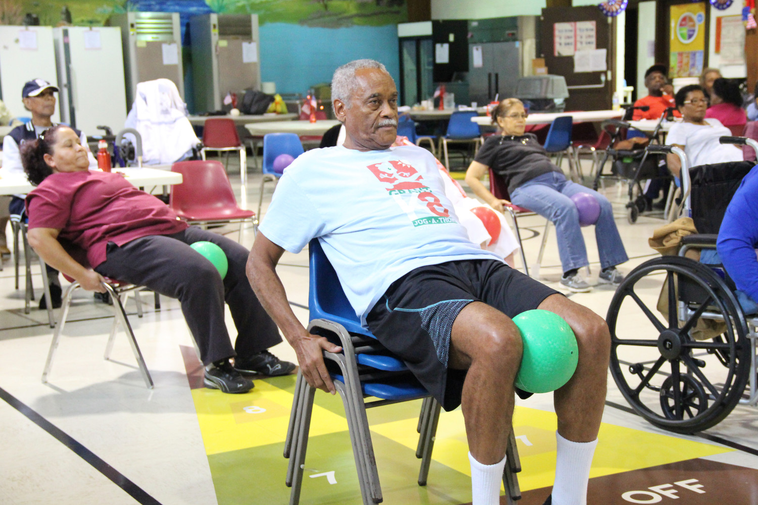 Freeport Salvation Army Senior Center participant, Danver Campbell, 70, participated in the morning exercise class.