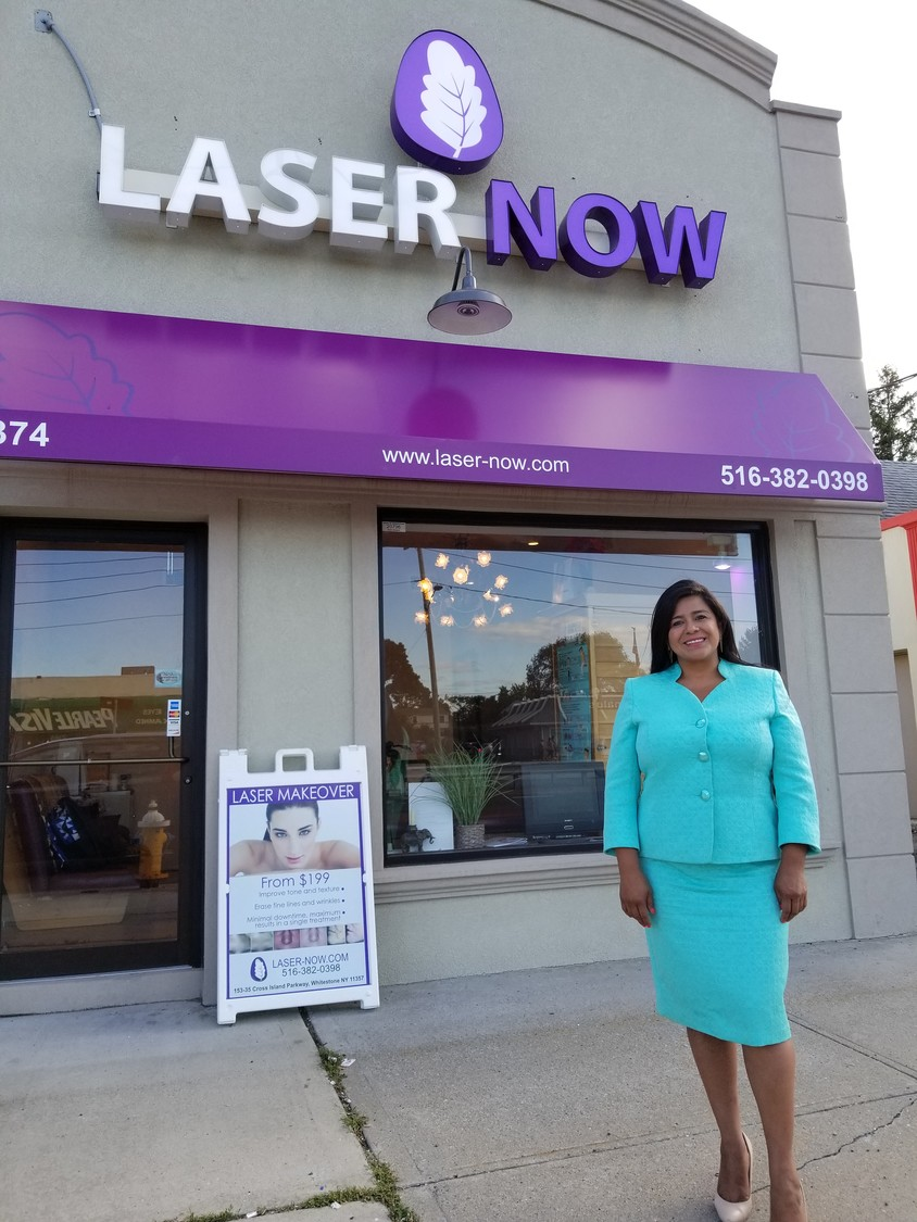 Vasquez outside her East Meadow business, Laser Now. She operates two other locations in Queens and Manhattan.