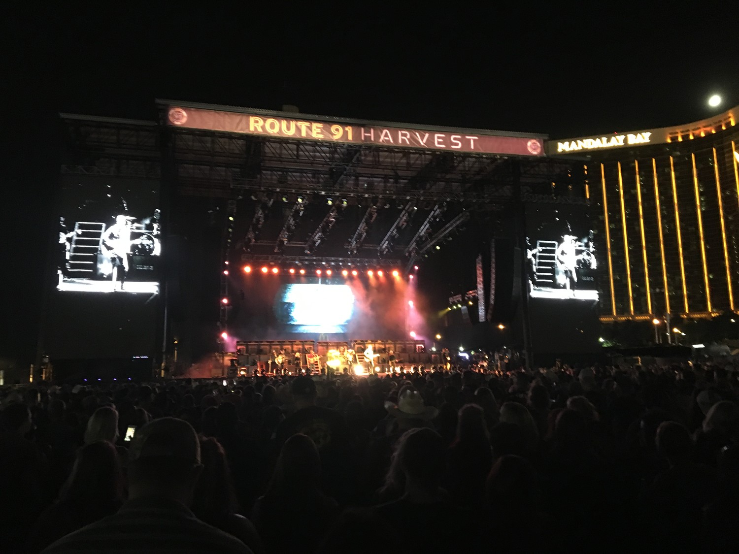 Country music star Jason Aldean's performance at the Route 91 Harvest Festival in Las Vegas on Sunday night became the scene of the deadliest mass shooting in U.S. history. In the crowd was 24-year-old Rockville Centre native Peter Meehan. Above, the concert venue last Friday.