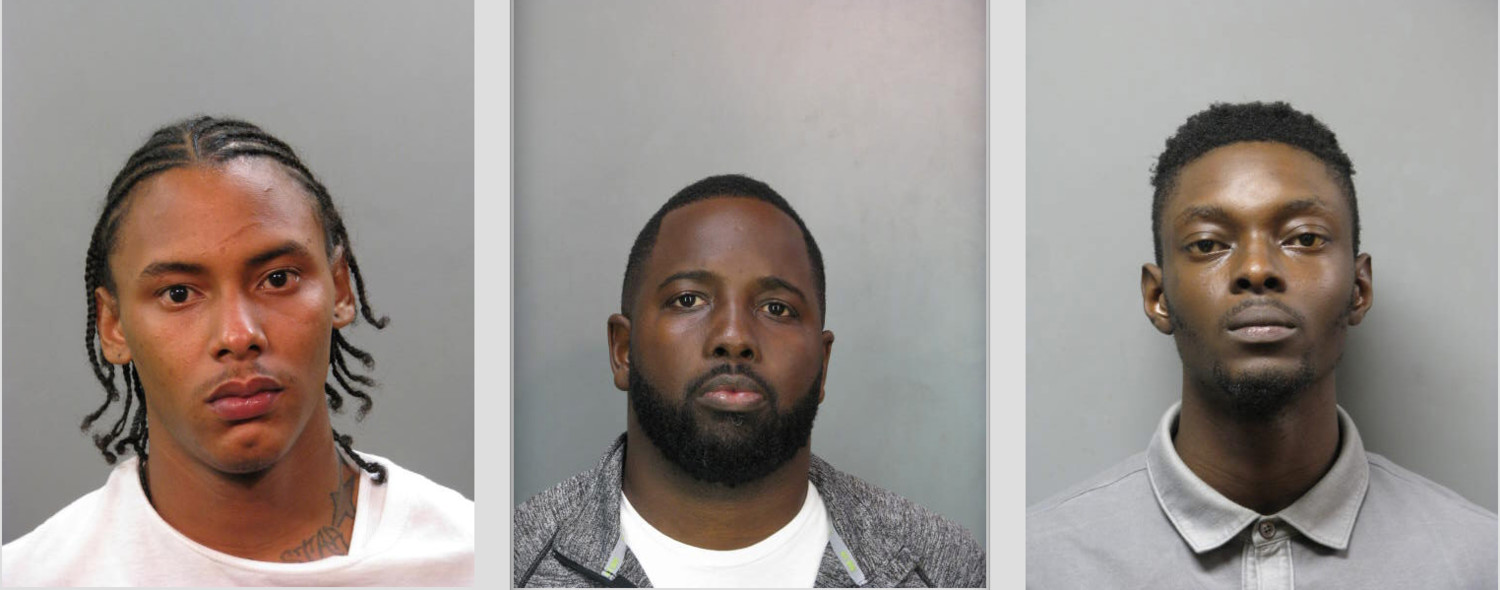 Far Rockaway residents Pedro Benitez, left, Quincy A. Hall and Damilola J. Saka are alleged to have three banks at gunpoint, including two in the Five Towns.