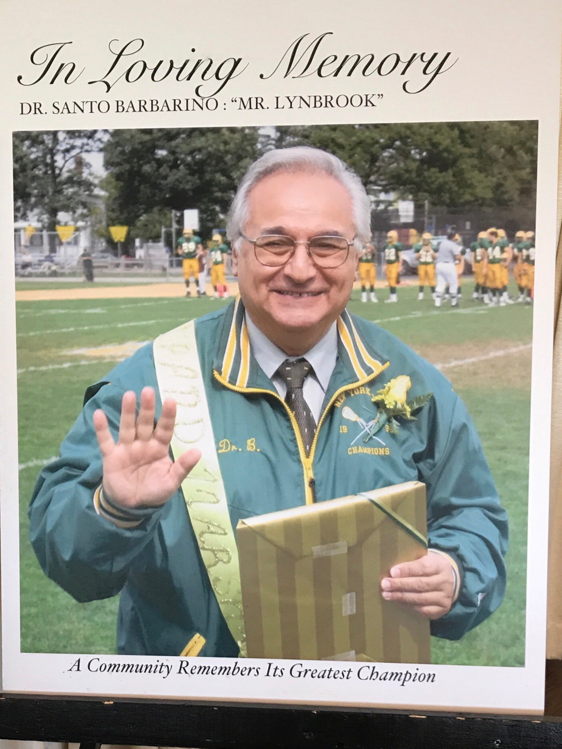 Former Lynbrook School District superintendent and athletic director Dr. Santo Barbarino was posthumously inducted into the Nassau County High School Athletics Hall of Fame on Sept. 27.