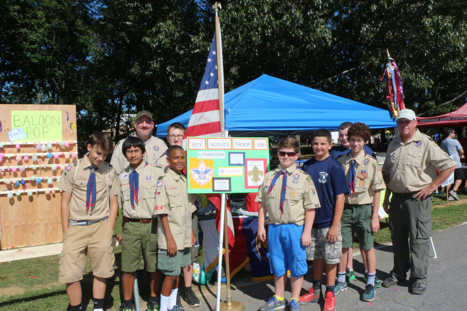 Lynbrook Cub Scouts Troop 336 members participated in a balloon pop contest with Scout Masters Dan Cullen and Mike Connolly. There are 35 members in the troop.