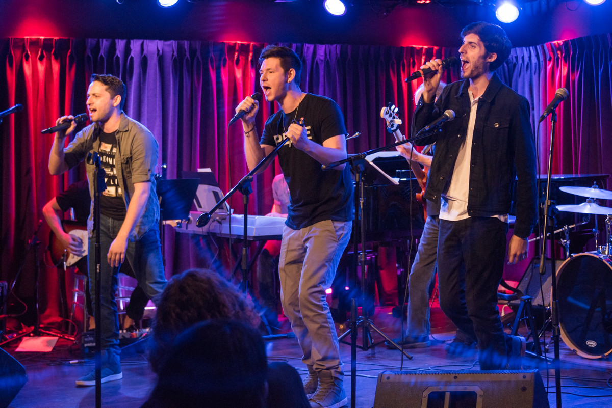 "East Rockaway native Michael Quadrino, left, co-founder of On The Quays, with Johnny Newcomb (Broadway's ""American Idiot"" and ""The Last Ship""), and Joseph Spinelli, Kings Park native, performed ""How About Love"" on June 18 at The Green Room 42 in New York City."