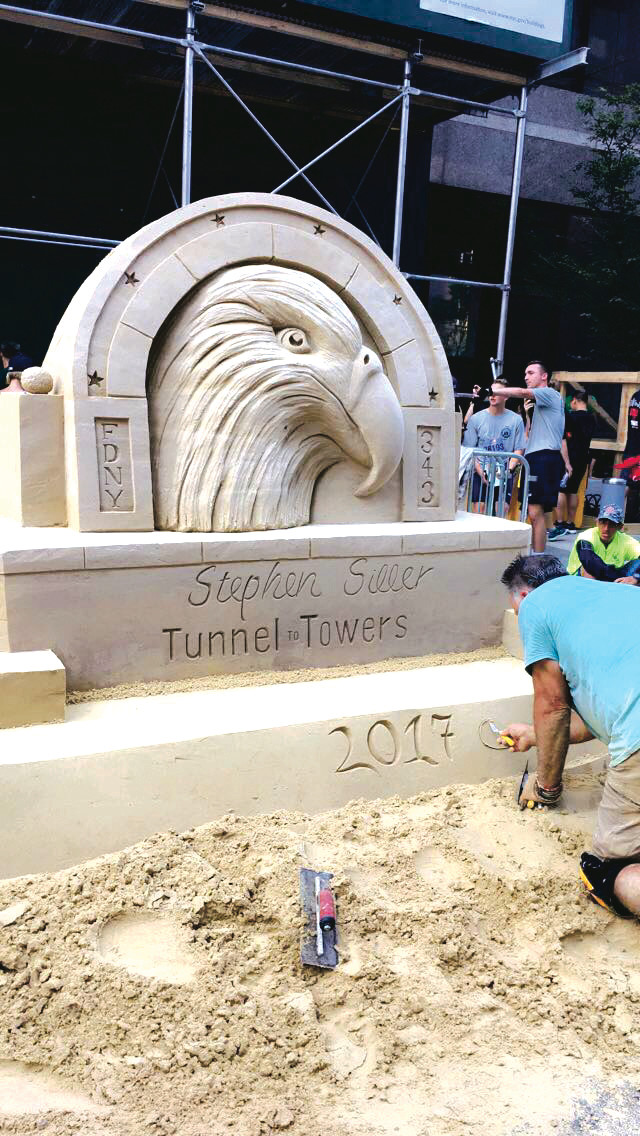 A sand-sculpture, dedicated to Stephen Siller, a Brooklyn firefighter from Rockville Centre who was killed while responding to the terrorist attacks on the World Trade Center in 2001.