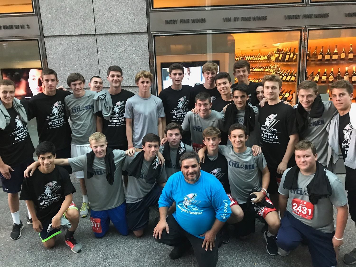 The SSHS Boys Varsity Soccer team after racing in the Tunnel to Towers 5K Run.