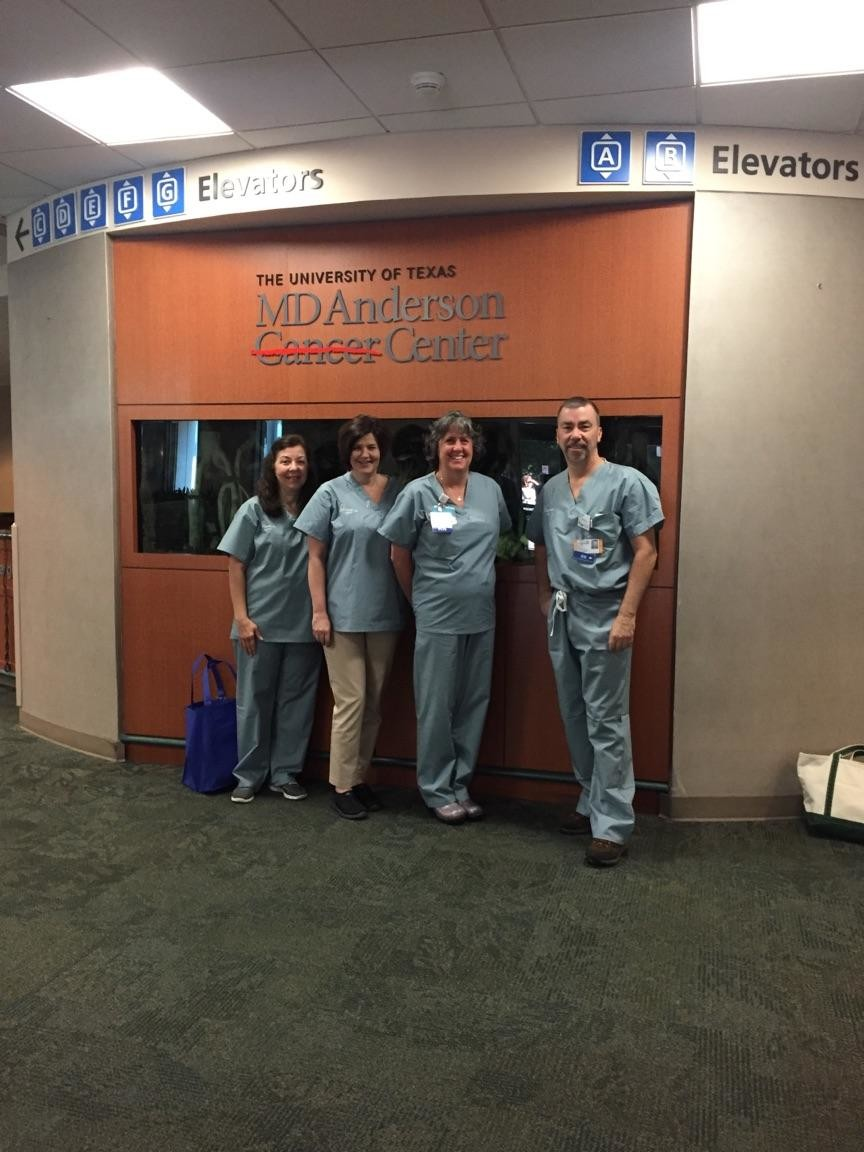 Rose Tiabbi, far left, a nurse at Glen Cove Hospital, traveled to Houston to help patients at the MD Anderson Cancer Center there. Karen Gleason, Lorraine O'Hara and Richard Behrens came from other hospitals to help.