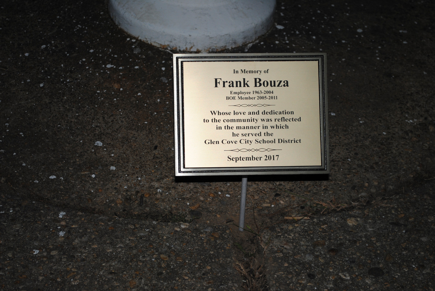 The plaque for Frank Bouza will be mounted in front of the flagpole at the high school.