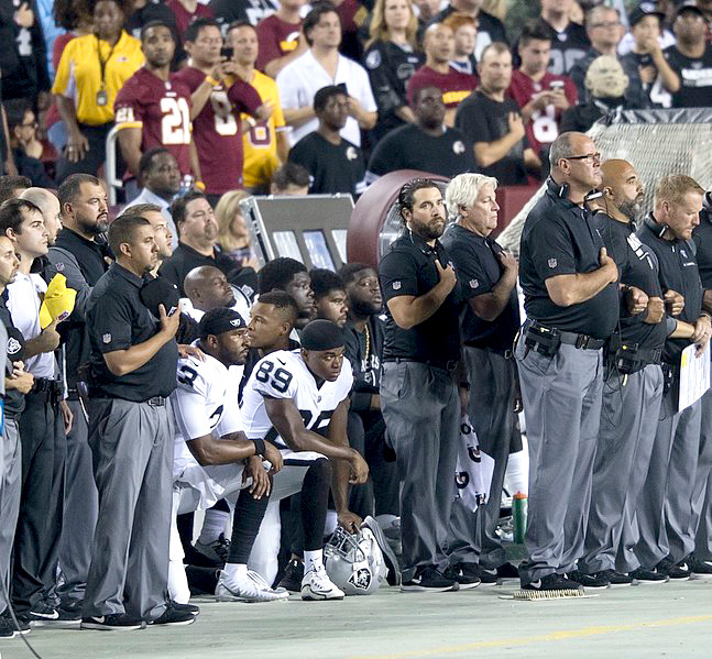 Members of the Oakland Raiders knelt during the national anthem before one of its games, and many other athletes have done the same.